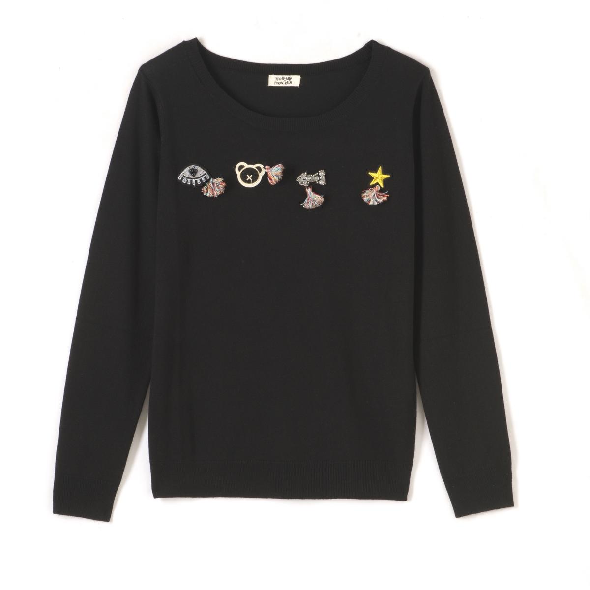 Пуловер с длинными рукавами и вышитым рисункомМатериал : 25% вискозы, 75% полиэстера   Длина рукава : длинные рукава  Форма воротника : круглый вырез  Покрой пуловера : стандартный  Рисунок : рисунок спереди<br><br>Цвет: черный<br>Размер: S/M