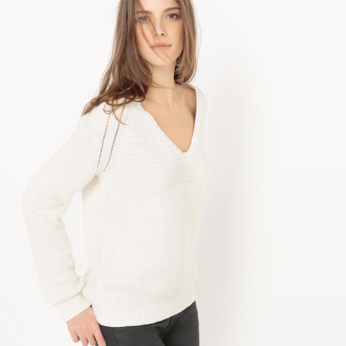 Пуловер с блестящим эффектом с V-образным вырезом из хлопкаМатериал : 95% хлопка, 2% волокон с металлическим блеском, 3% полиэстера            Длина рукава : длинные рукава            Форма воротника : V-образный вырез            Покрой пуловера : стандартный            Рисунок : однотонная модель            Особенность материала : трикотаж             Стирка : машинная стирка при 30 °С в деликатном режиме            Уход : сухая чистка и отбеливание запрещены            Машинная сушка : сушить на горизонтальной поверхности в расправленном состоянии            Глажка : при низкой температуре<br><br>Цвет: белый,кирпичный,темно-синий<br>Размер: S.XXL.L.M.S.L.M.S.L.M