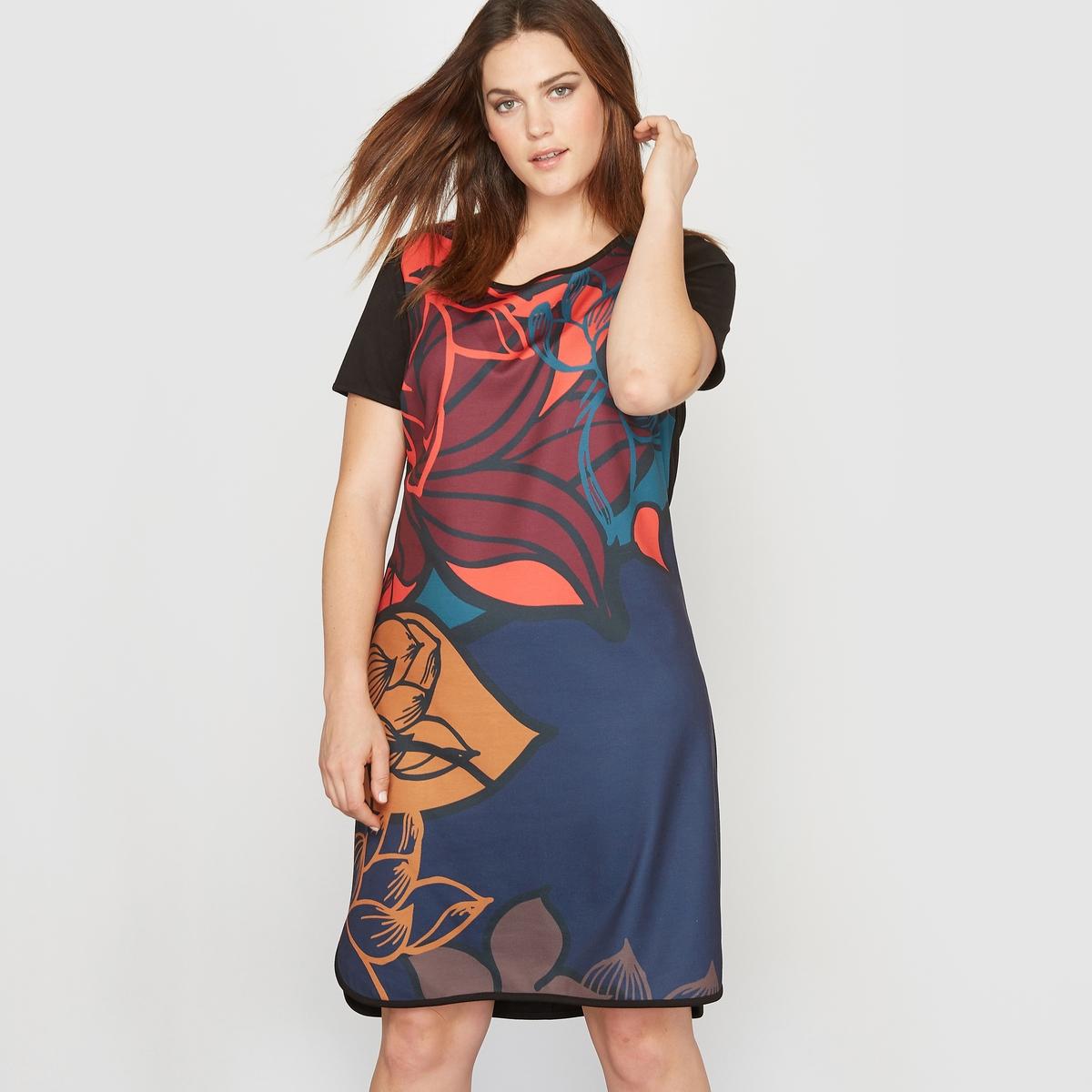 Платье с рисункомСостав и описание :Материал : трикотаж, 95% полиэстера, 5% эластана.Длина : 95 см. Марка : CASTALUNA.Уход : Машинная стирка при 30°.<br><br>Цвет: цветочный рисунок