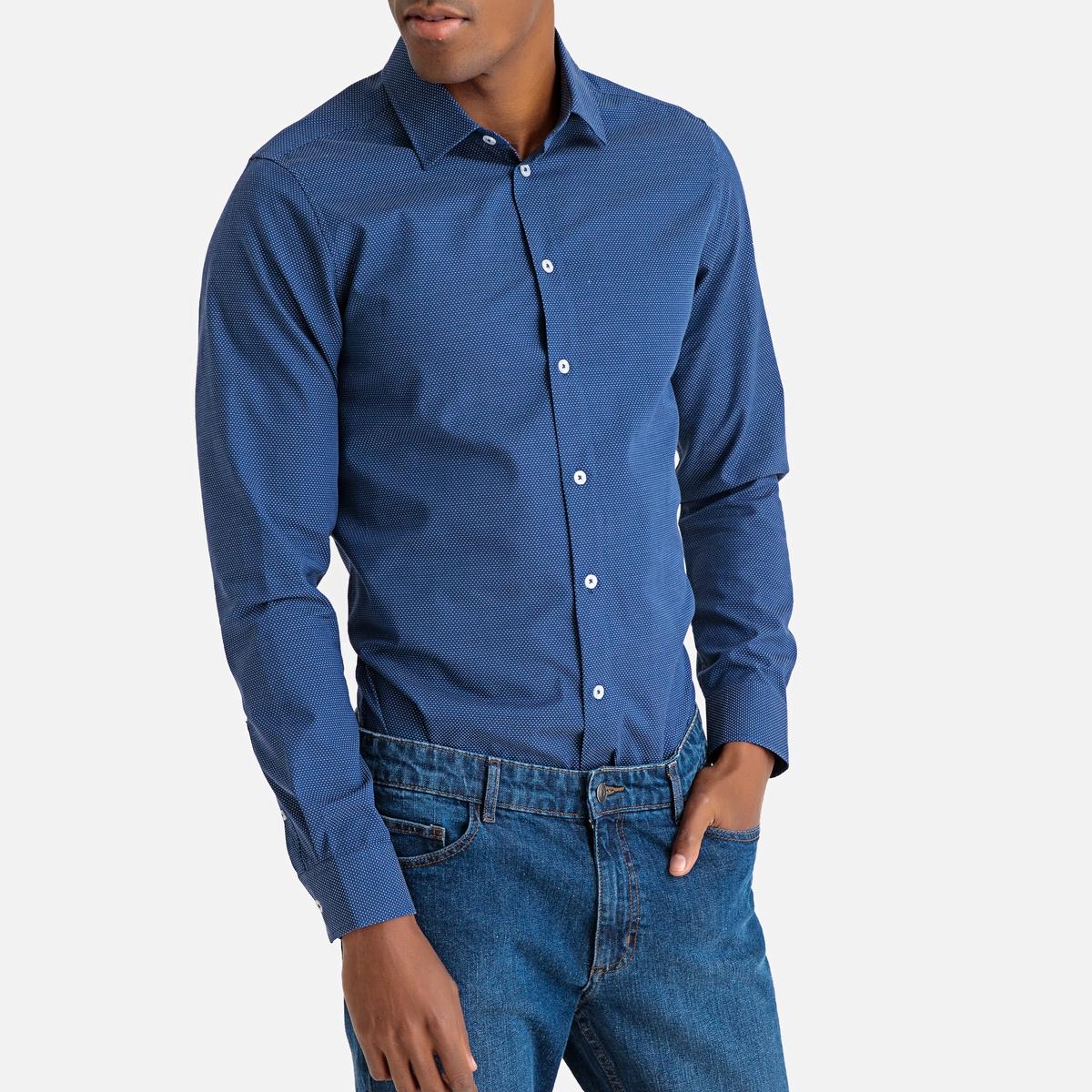 цена Рубашка La Redoute Узкого покроя с рисунком и длинными рукавами 45/46 синий онлайн в 2017 году