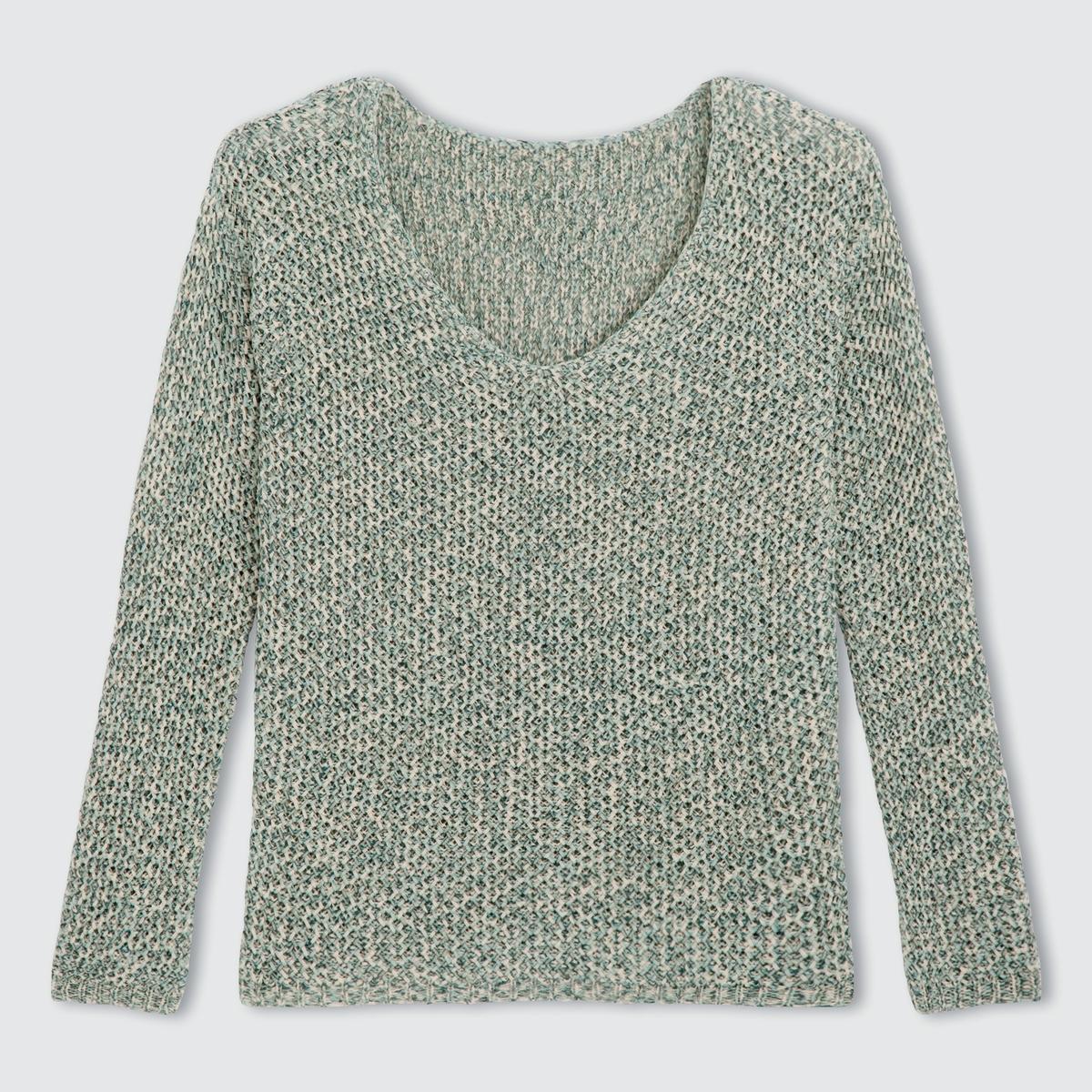 Пуловер с длинными рукавами и V-образным вырезом из ленточного трикотажаПуловер из ленточного трикотажа 62% акрила, 38% полиамида для цвета морская волна, 73% хлопка, 27% полиэстера для цвета серый меланж .  Длинные рукава. Края рукавов и низа связаны в рубчик. Длина 63 см.Очень женственный пуловер из оригинального трикотажа!<br><br>Цвет: меланж зеленый<br>Размер: 42/44 (FR) - 48/50 (RUS).46/48 (FR) - 52/54 (RUS)