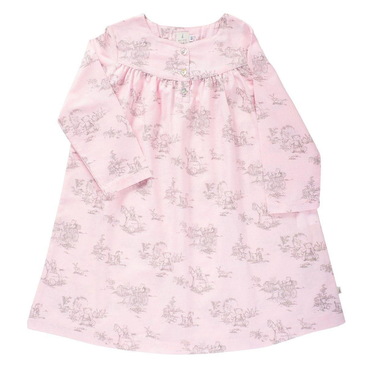 Chemise de nuit toile de Jouy rose et taupe