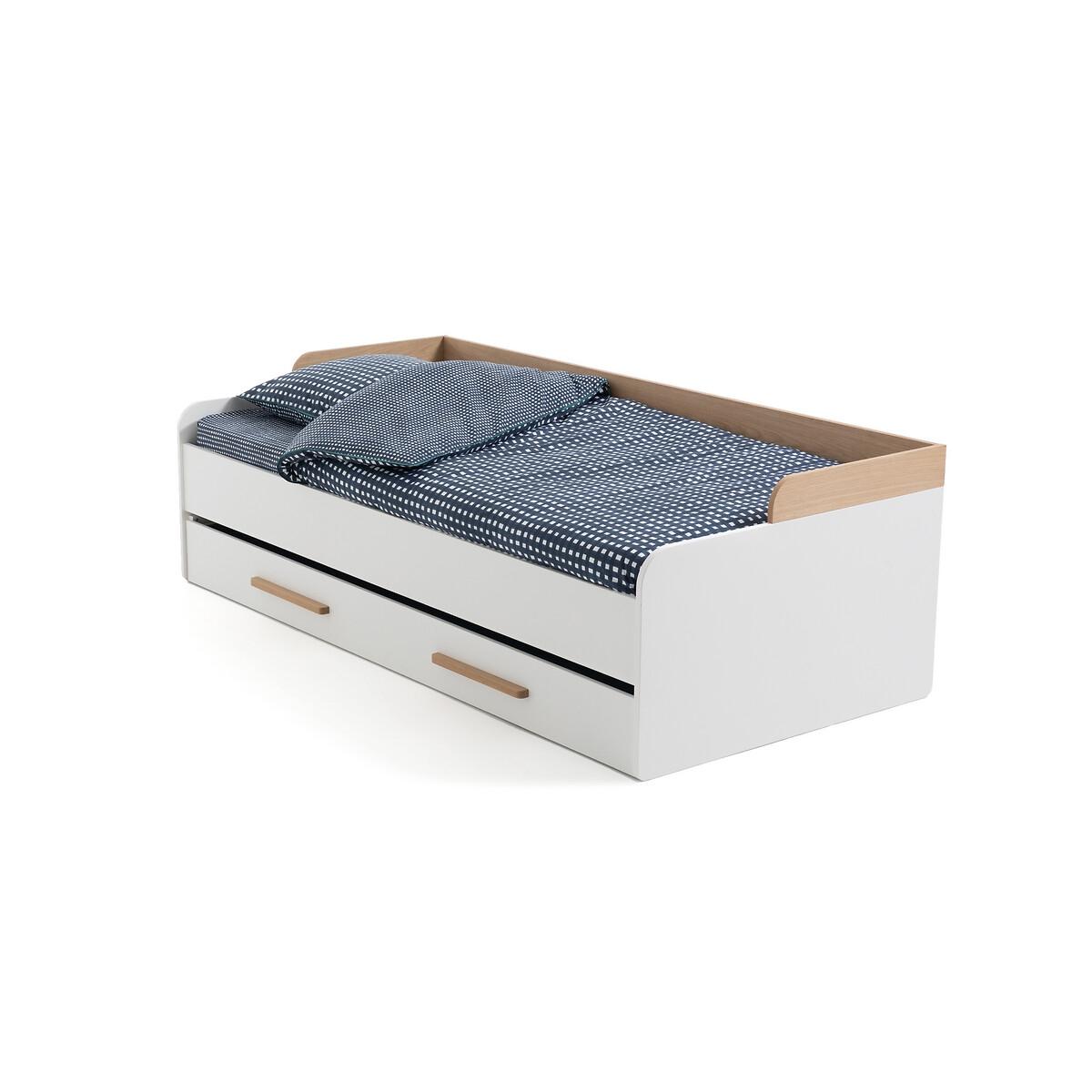Кровать-кушетка LaRedoute Раздвижная с основанием Arturo 90 x 190 см белый кровать laredoute с ящиком отделениями для вещей и кроватным основанием yann 90 x 190 см белый