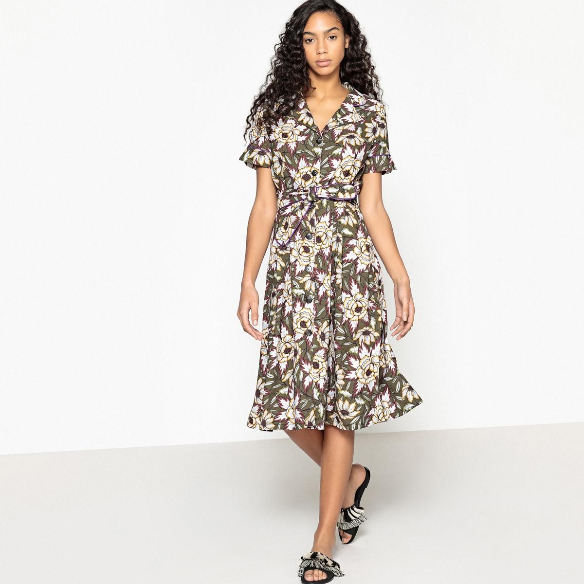 Платье с цветочным рисунком, застежкой на пуговицы и поясом