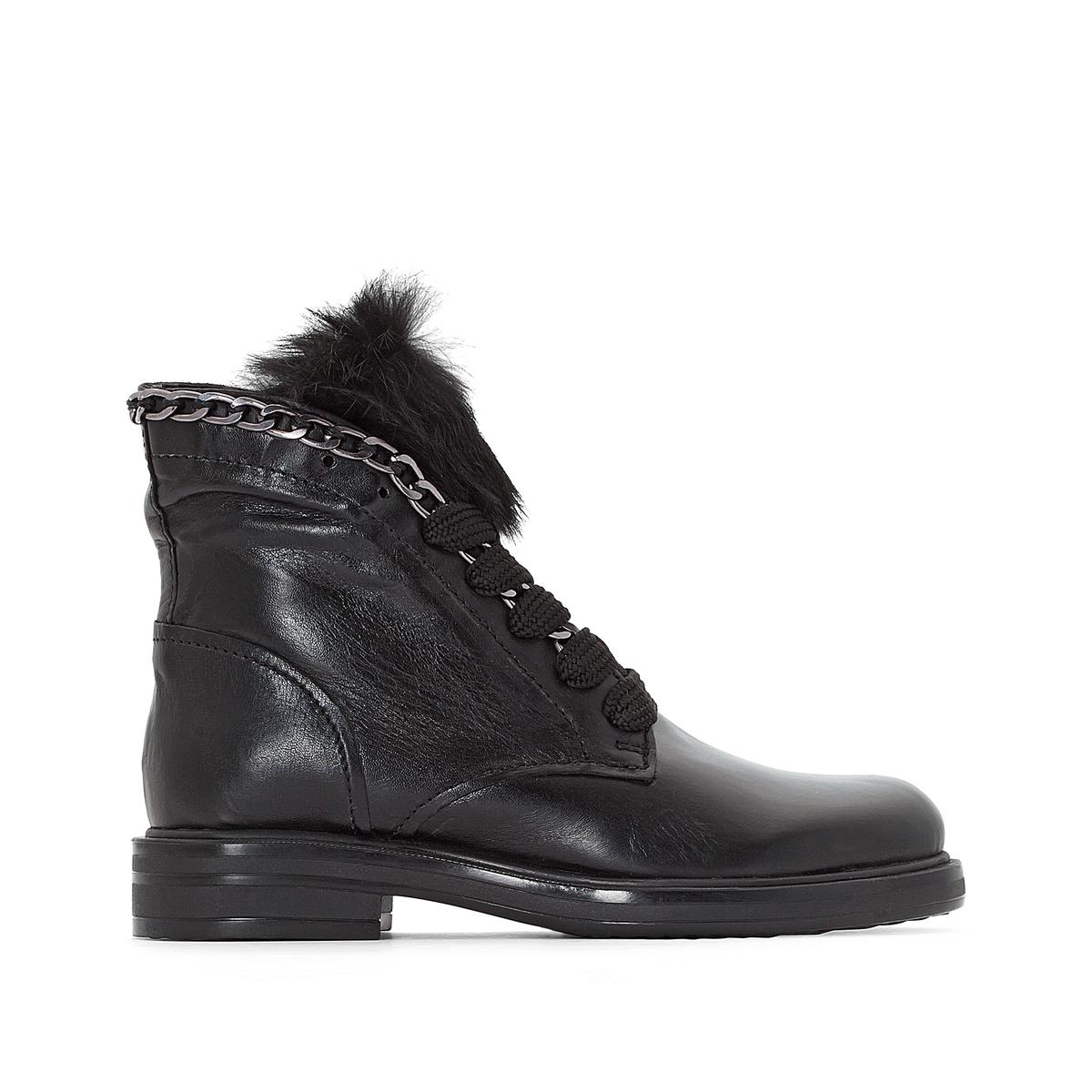 Ботинки кожаные CafeДетали  •  Высота голенища : 14 см, размер 37 •  Высота каблука : 3 см •  Застежка : шнуровка •  Круглый мысокСостав и уход  •  Верх 100% козья кожа •  Подкладка 100% кожа •  Стелька 100% кожа •  Подошва 100% каучук<br><br>Цвет: черный<br>Размер: 36