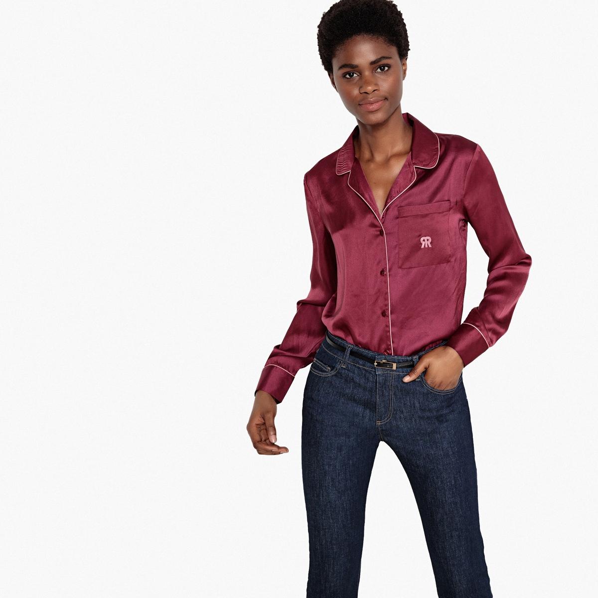 Рубашка прямого покроя с длинными рукавами из сатина рубашка прямого покроя большого размера с контрастными пуговицами