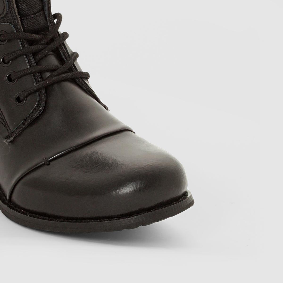 Ботинки на шнуровке с молнией SaraВерх/ Голенище : коровья кожа    Подкладка : подкладка из текстиляСтелька : кожаПодошва : каучук    Застежка : на молнию<br><br>Цвет: черный