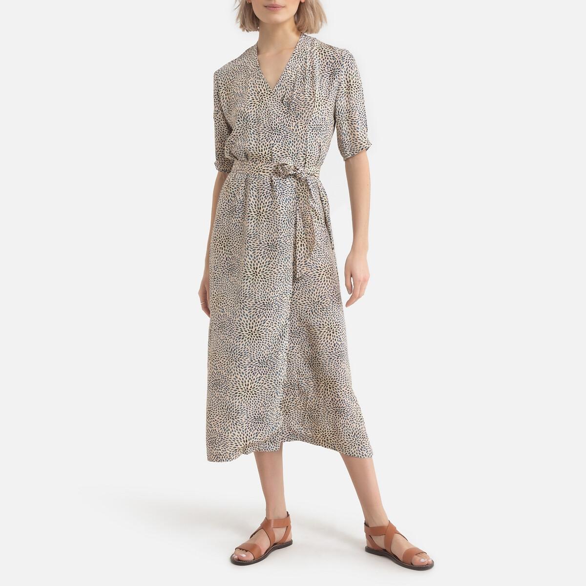 Фото - Платье LaRedoute С запахом длинное с короткими рукавами MALAGA 38 (FR) - 44 (RUS) синий платье laredoute с запахом с рисунком 34 fr 40 rus синий