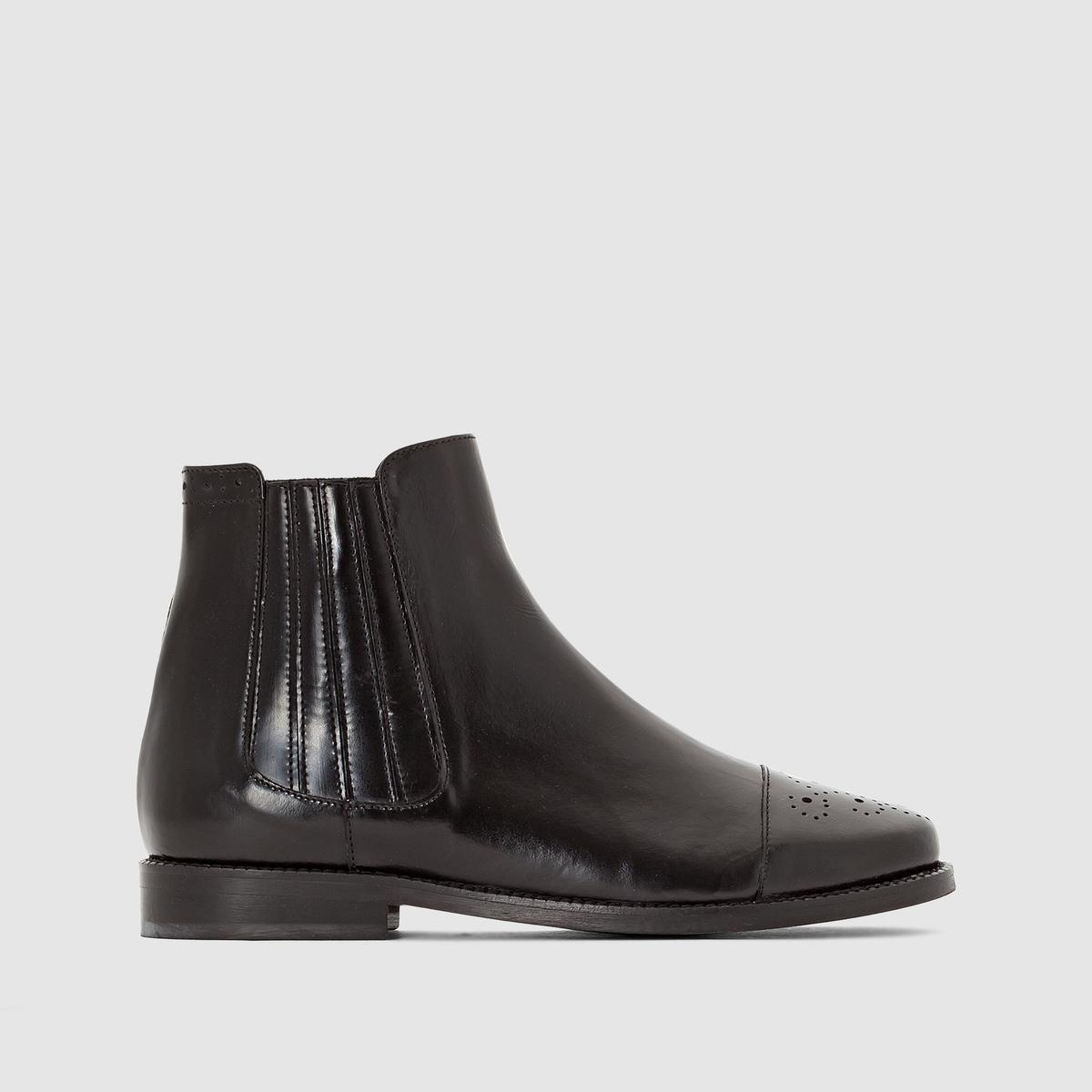 Ботинки кожаные DamalisПодкладка : Кожа.     Стелька : Кожа.     Подошва : Эластомер     Высота каблука : 1 см.     Высота голенища : 12 см     Форма каблука : Плоский     Мысок : Закругленный     Застежка : без застежки<br><br>Цвет: черный<br>Размер: 38.40.37