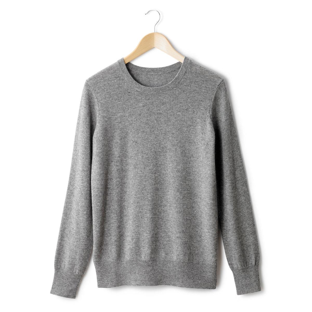 Пуловер с круглым вырезом, 100% кашемираПуловер с круглым вырезом и длинными рукавами. Края рукавов и низа связаны в рубчик. Джерси, 100% кашемира.Длина 64 см.<br><br>Цвет: серый меланж
