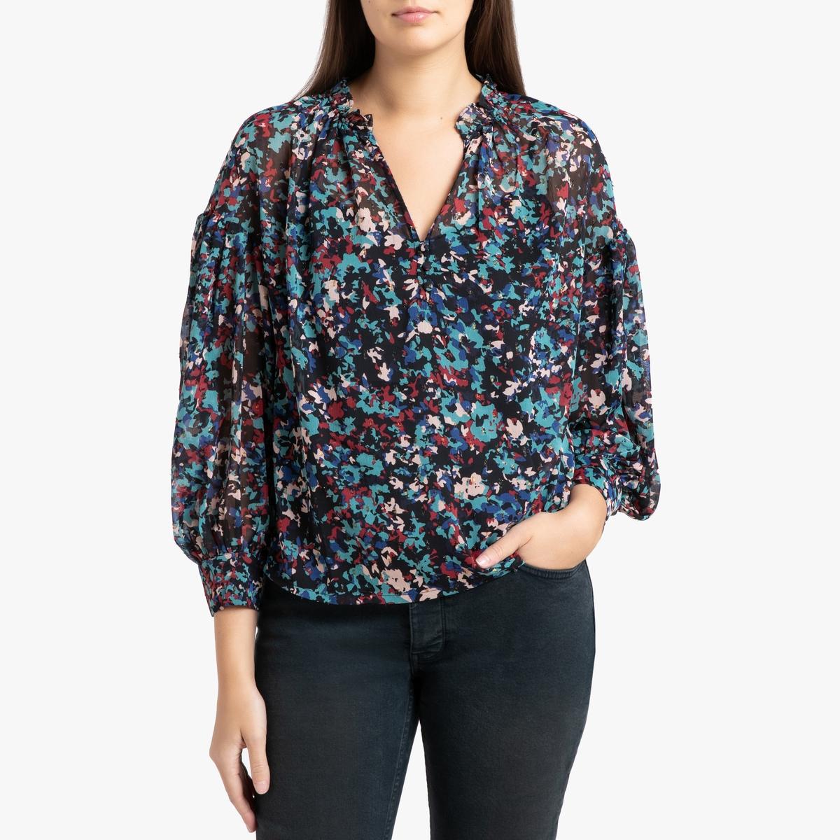 Блузка La Redoute С V-образным вырезом рисунком и длинными рукавами LUMIA 2(M) черный блузка la redoute с круглым вырезом цветочным рисунком и длинными рукавами s черный