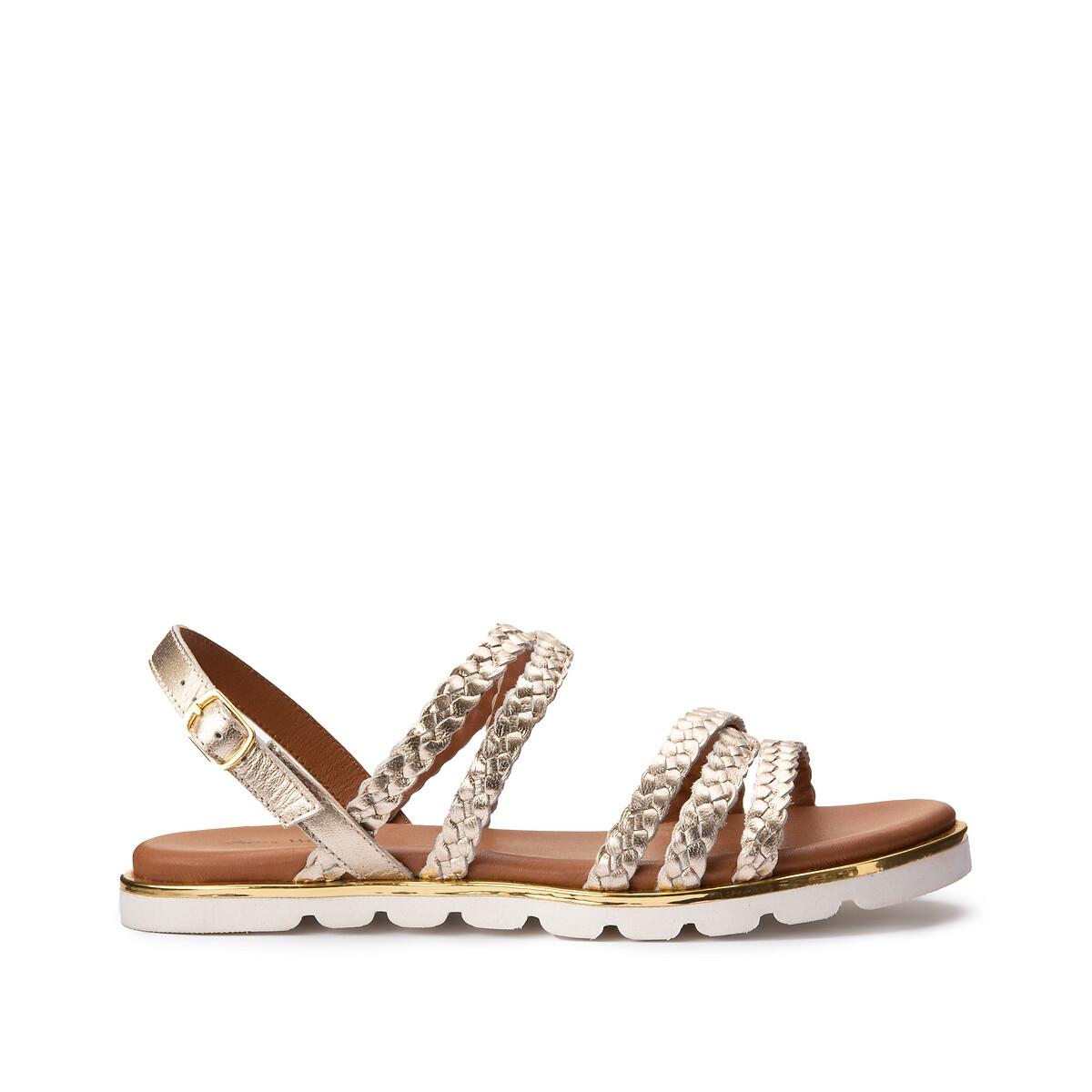 Фото - Босоножки LaRedoute Кожаные с ремешками на плоском каблуке 40 золотистый балетки laredoute на плоском каблуке с рисунком под кожу питона 37 каштановый