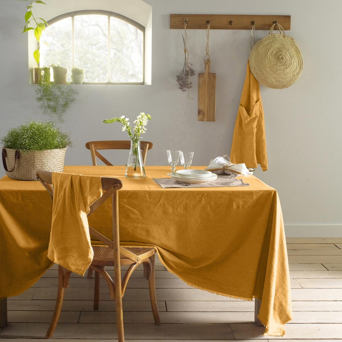 Скатерть LaRedoute Из льна и хлопка с бахромой BELLO 150 x 150 см желтый