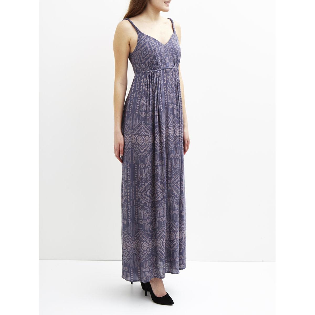 Платье длинное без рукавов, с плиссированным эффектом VILA VILUKKAL MAXI DRESSСостав и описание :Материал : 100% вискозыМарка : VILA<br><br>Цвет: сине-серый<br>Размер: XS