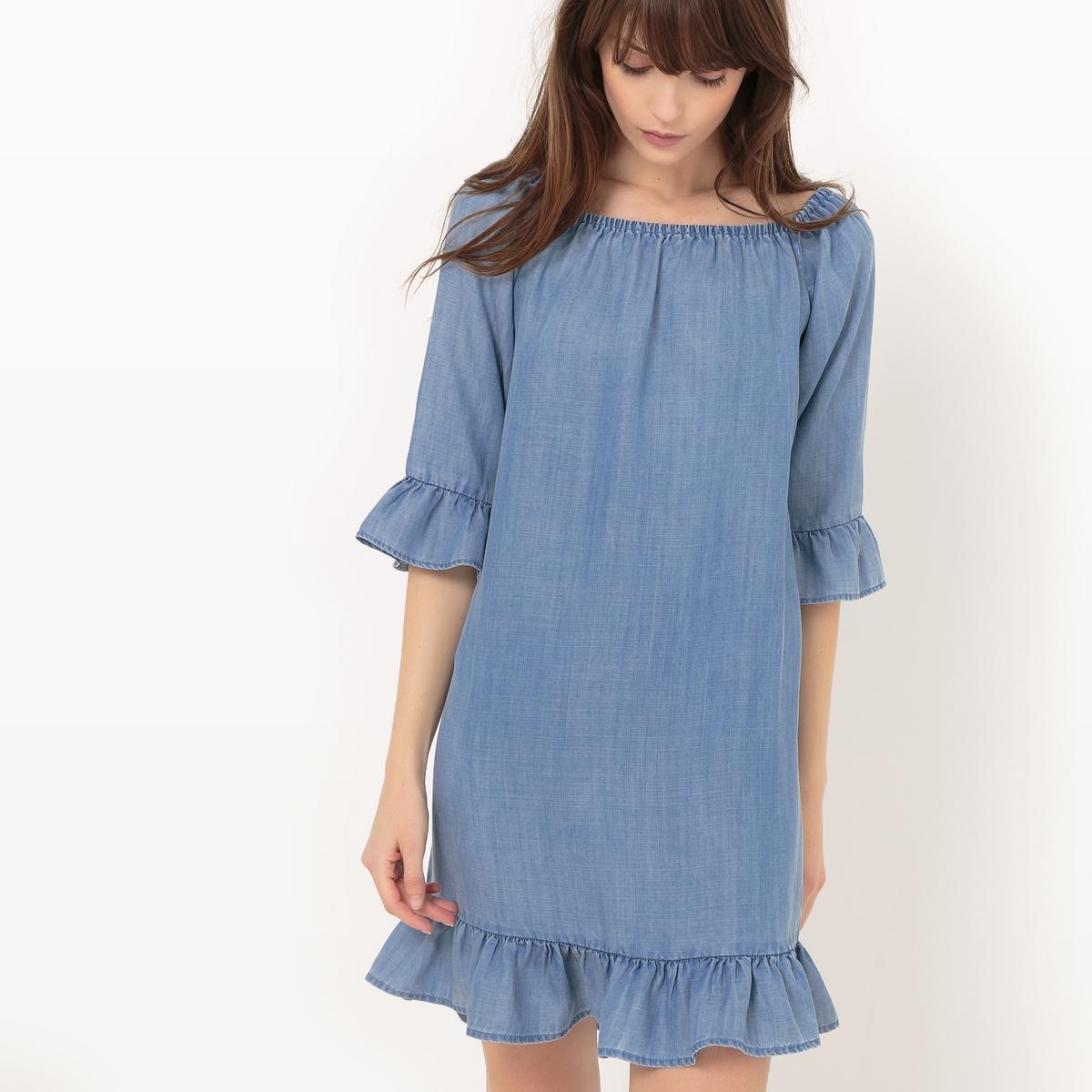 Платье из тонкого денима с воланами