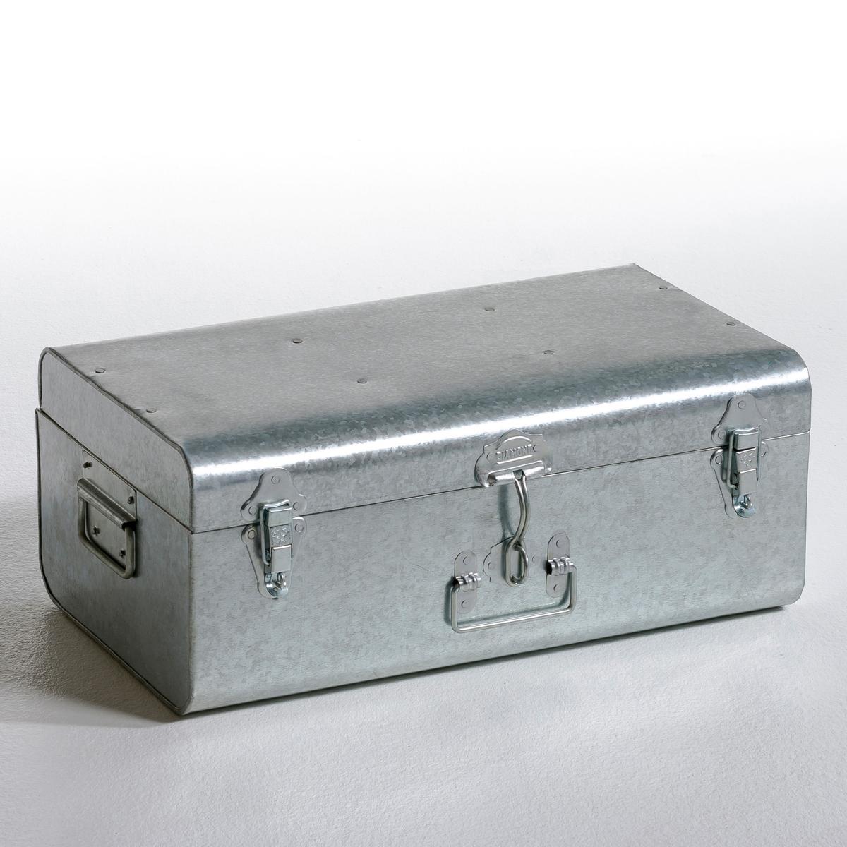 Сундук металлический DeniseВ стиле старых дорожных чемоданов, этот симпатичный металлический сундук идеален для хранения журналов, фотографий, одеждыИз оцинкованного металла. 2 ручки по бокам, 1 спереди.                           Закрывается на 3 защёлки спереди. Размер. : Ш. 47x В. 19 x Г. 27 см.<br><br>Цвет: белый,желтый,леопардовый рисунок,розовый телесный,серый,синий,хаки,черный<br>Размер: 47 x 27 x 19