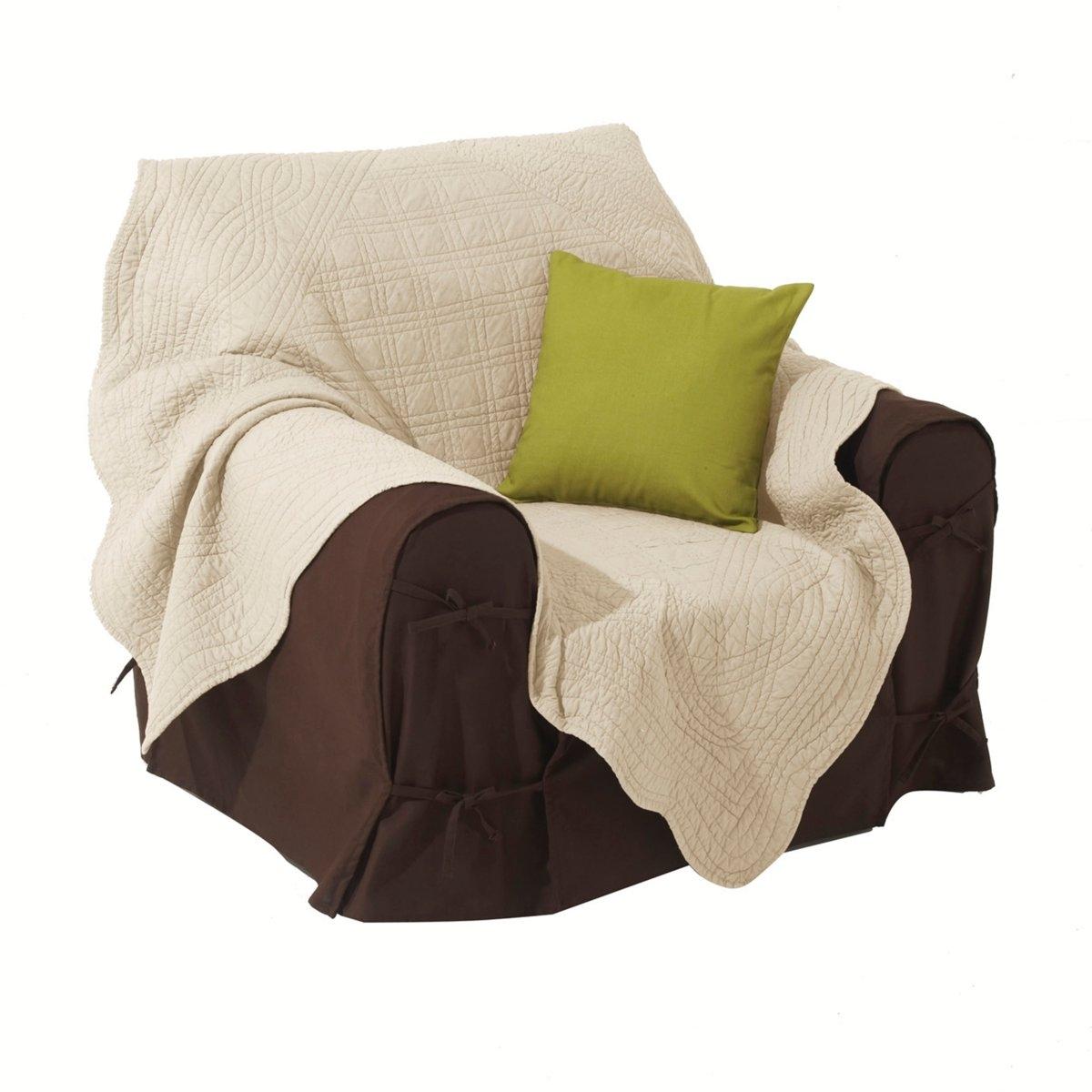 Покрывало стеганоеКачество VALEUR S?RE за качество материалов и тщательную отделку. 100% хлопка. Ручная работа, рельефная стежка, современная цветовая гамма. Наполнитель из 100% хлопка (250 г/м?). Волнистые края. Украсит кровать, кресло, диван… Стирка при 40°. Превосходная<br><br>Цвет: антрацит,светло-коричневый,экрю<br>Размер: 150 x 150  см.140 x 200  см