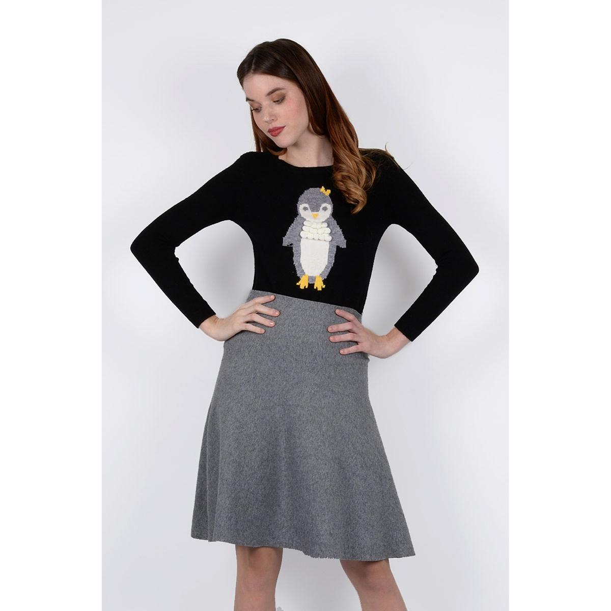 Пуловер с круглым вырезом из тонкого трикотажа пуловер с круглым вырезом и вышивкой molly bracken