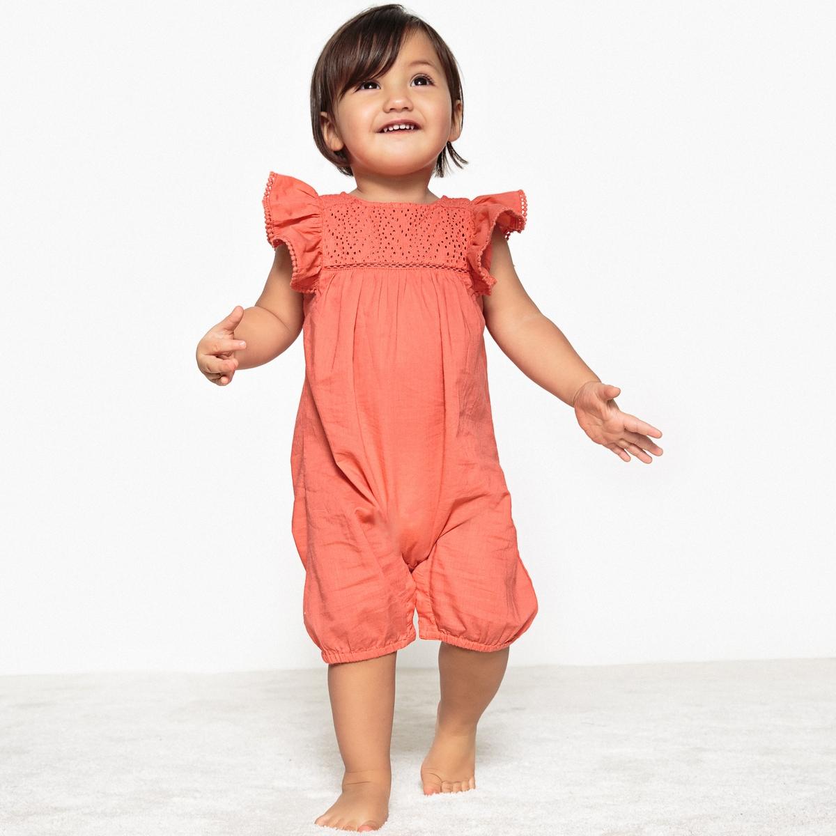 Комбинезон La Redoute С вышивкой и воланами мес - года 1 год - 74 см розовый шорты с вышивкой 1 мес 3 года