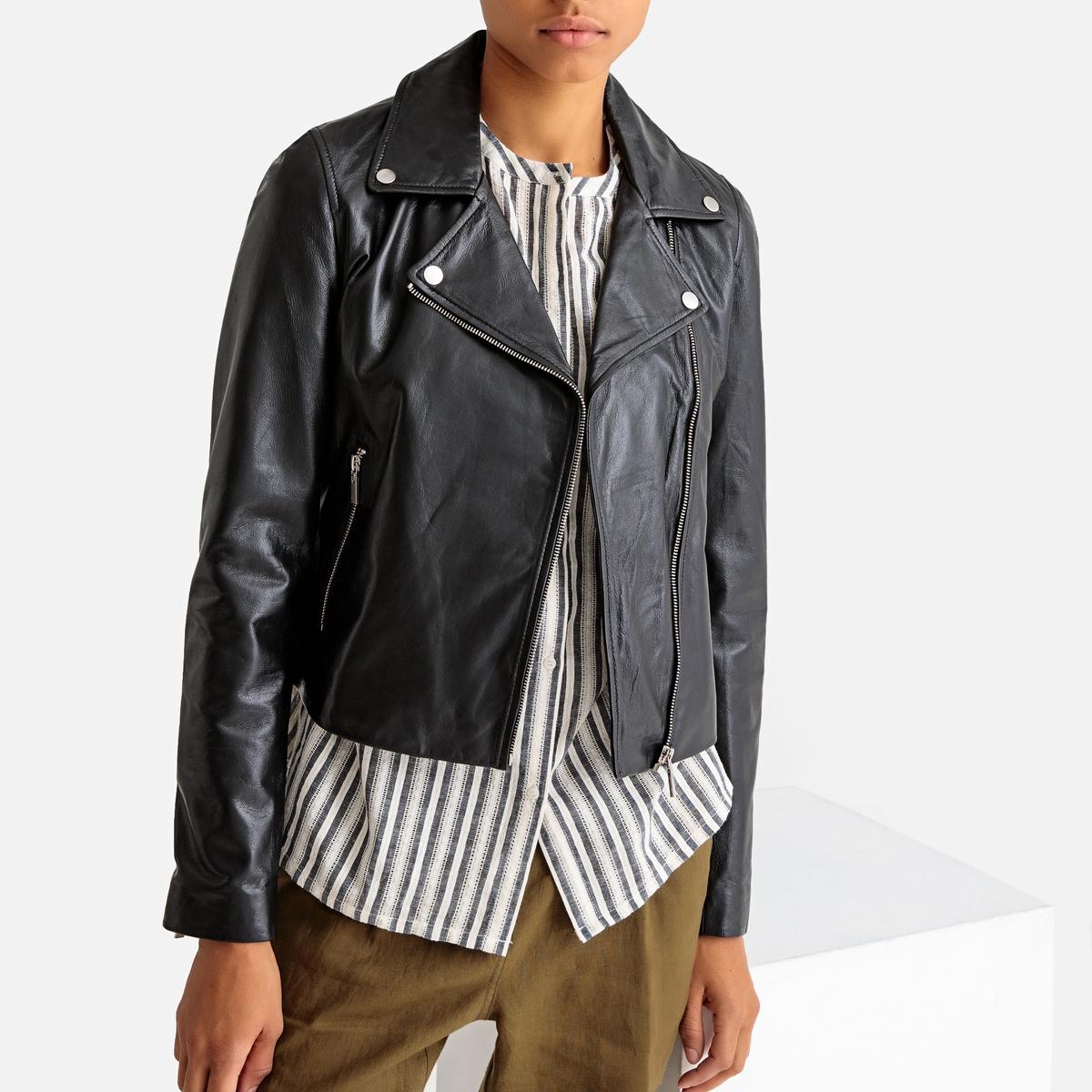 Куртка La Redoute Кожаная приталенного покроя в байкерском стиле 34 (FR) - 40 (RUS) черный блузон la redoute в байкерском стиле ozone s черный