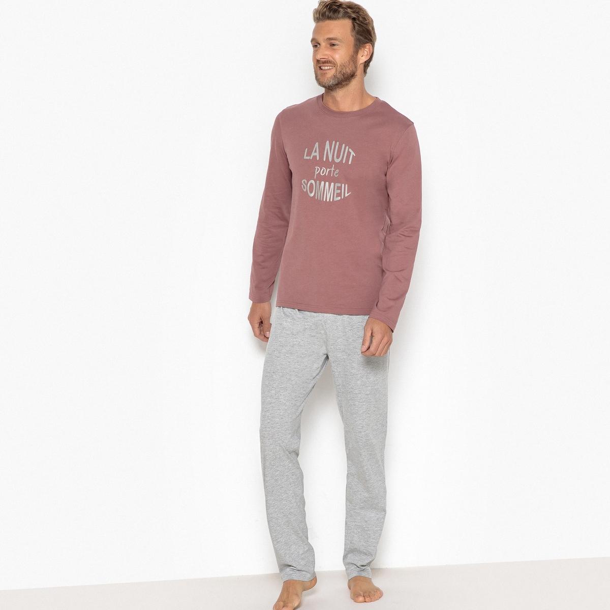 Пижама La Redoute С рисунком и длинными рукавами 3XL каштановый цена