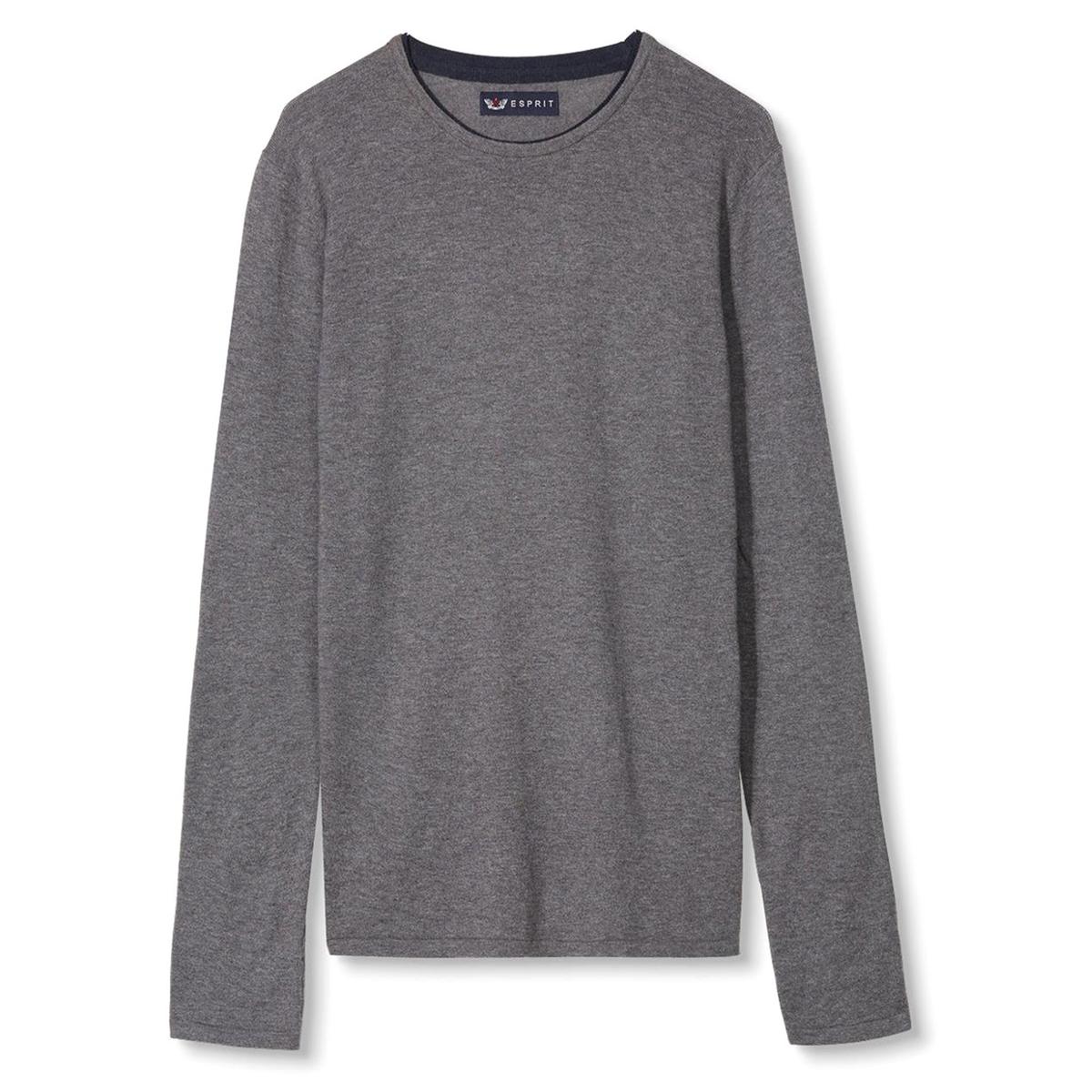 Пуловер с нашивками на локтяхПуловер - ESPRIT. Прямой покрой, круглый вырез. Контрастная отделка выреза и двухцветные нашивки на локтях. Состав и описание:Материал: 100% хлопка.Марка: ESPRIT.<br><br>Цвет: серый,темно-синий