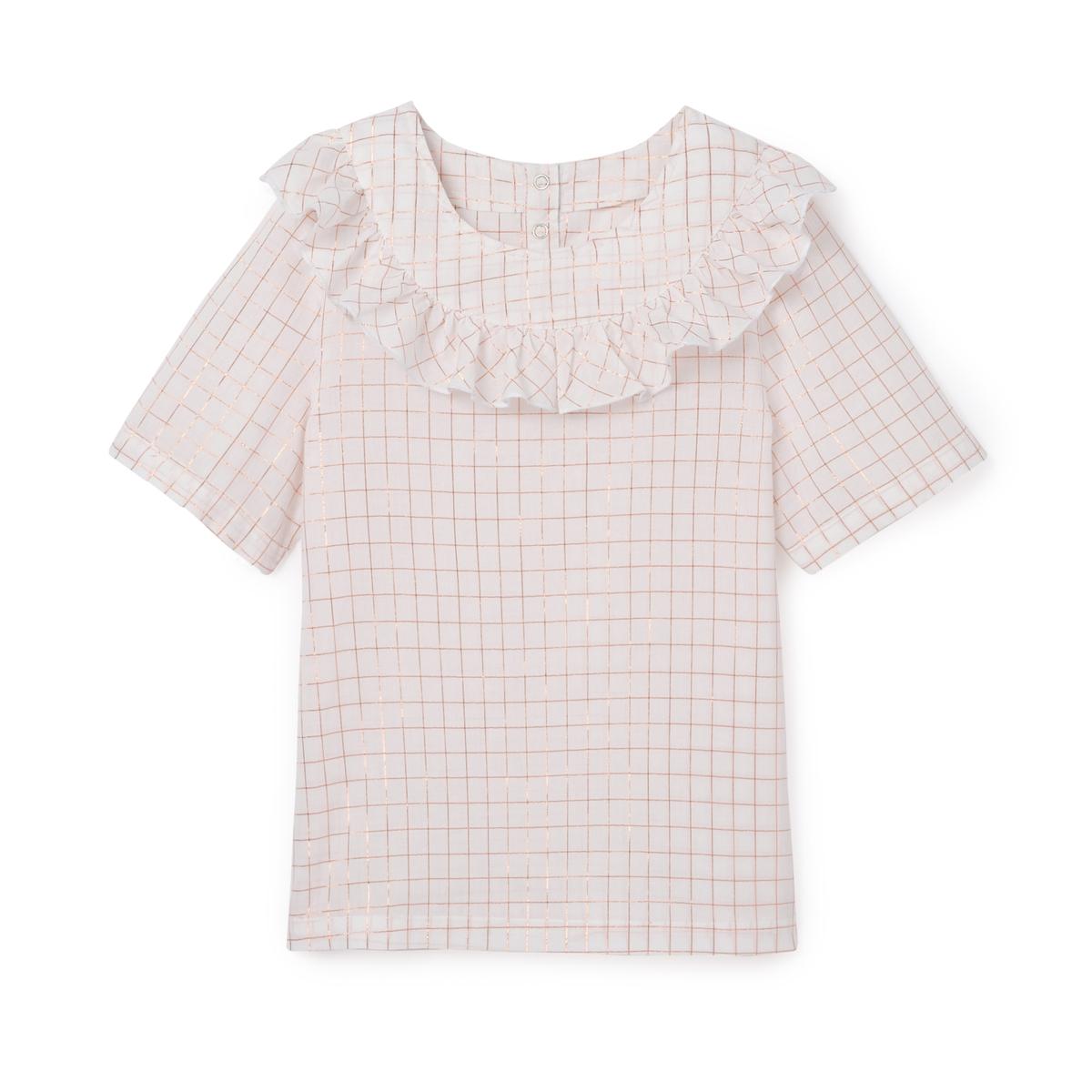 Блузка в блестящую клетку с воланами,  3-12 лет