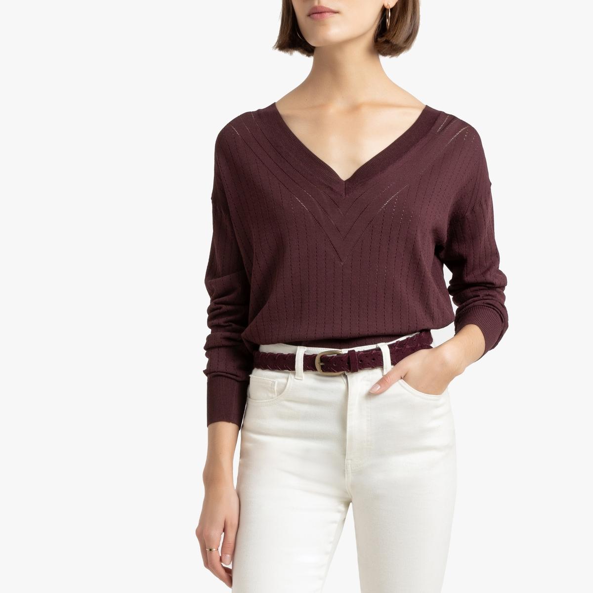 цена Пуловер La Redoute С V-образным вырезом из тонкого ажурного трикотажа S красный онлайн в 2017 году