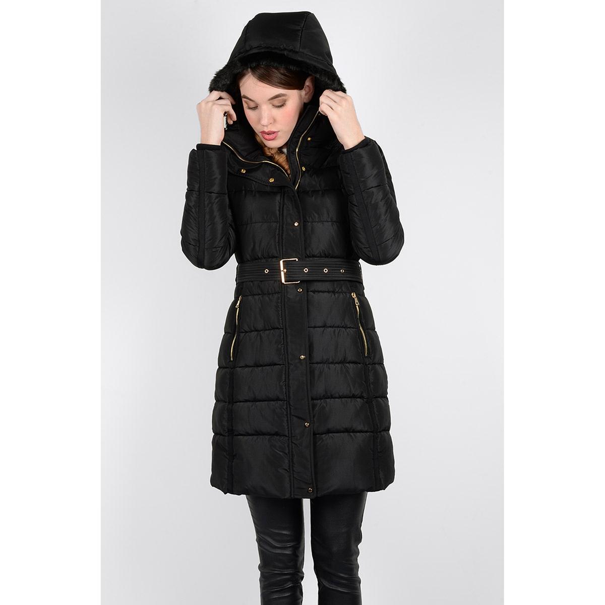 Куртка стеганая длинная с капюшоном с оторочкой мехомОписание:Длинное пальто в стиле стеганой куртки MOLLY BRACKEN, с поясом. Воротник-стойка для защиты от холода. Капюшон на подкладке из искусственного меха. Карманы на молнии.Детали •  Длина  : удлиненная модель •  Воротник-стойка •  Застежка на молнию •  С капюшономСостав и уход •  100% полиэстер •  Следуйте советам по уходу, указанным на этикетке<br><br>Цвет: черный<br>Размер: S