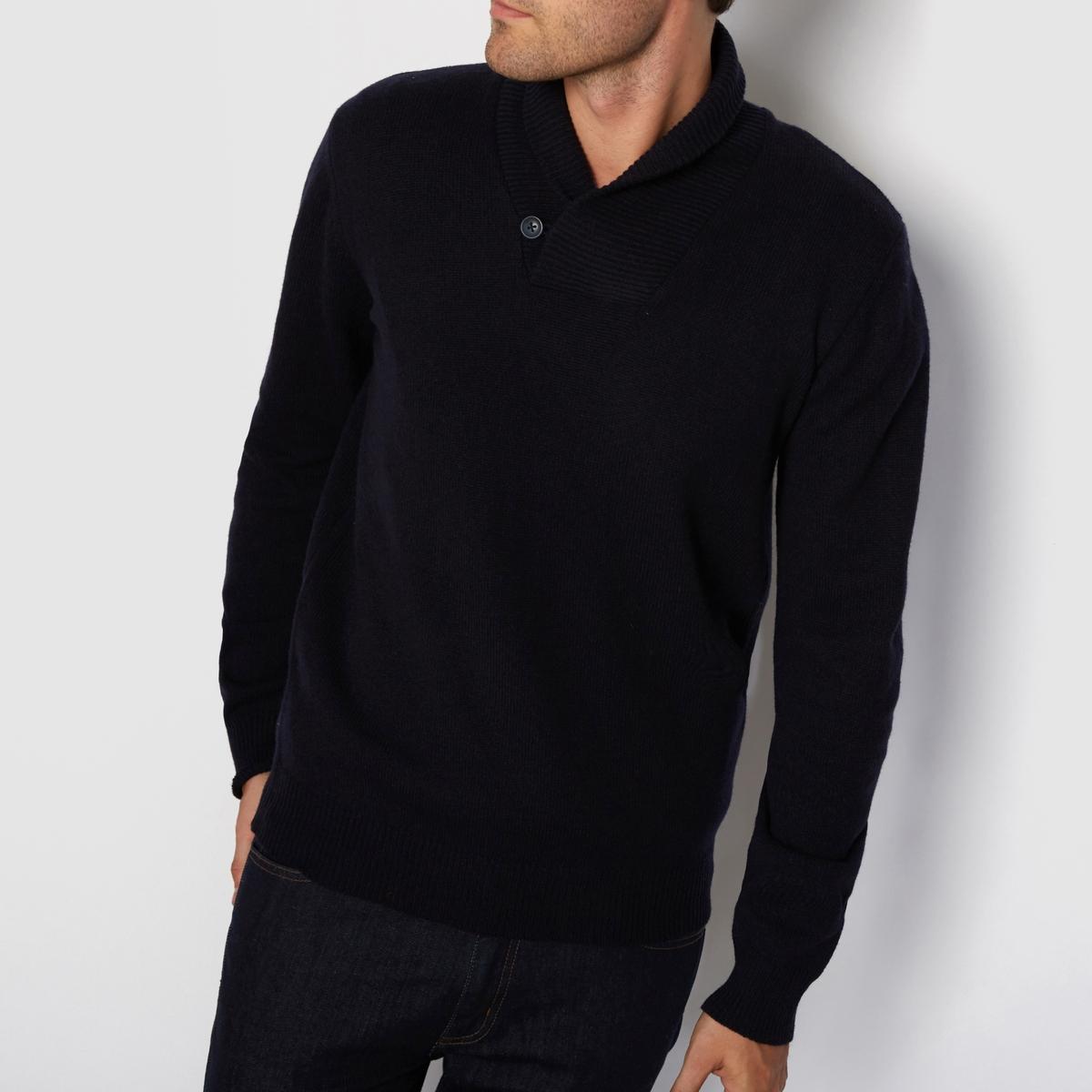 Пуловер с шалевым воротником, 100% овечья шерстьМатериал : 100% овечья шерсть . LambswoolПуловер с длинными рукавами.Шалевый воротник.<br><br>Цвет: темно-синий