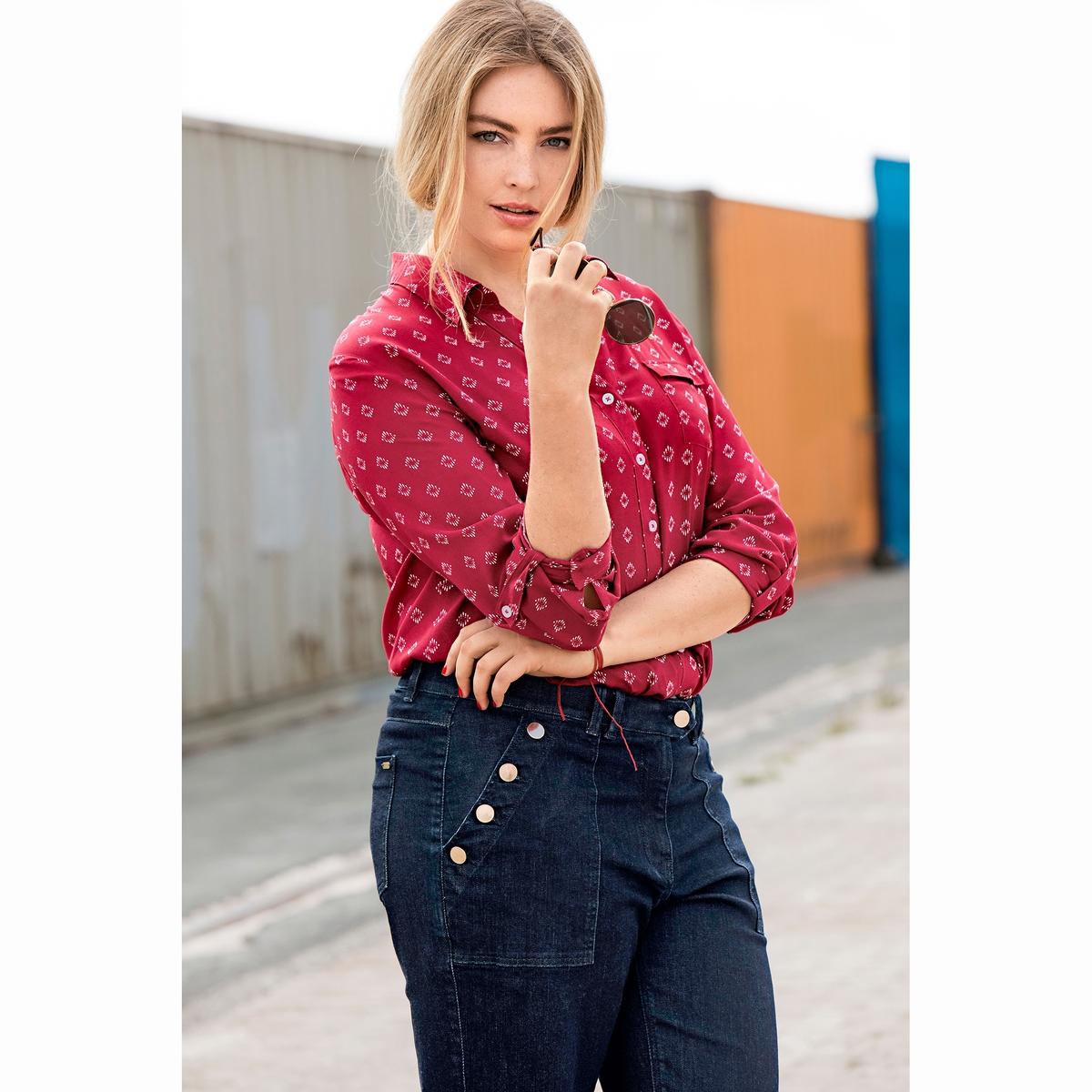 БлузкаБлузка с рубашечным воротником ULLA POPKEN. 100% вискоза. Удлиненная блузка с рубашечным воротником, красивый мелкий рисунок. Открытый рубашечный воротник, нагрудный карман, разрезы по бокам. Длинные рукава, отделка манжет, рукава подворачиваются до длины 3/4. Длина зависит от размера: от 76 до 81 см<br><br>Цвет: набивной рисунок<br>Размер: 52/54 (FR) - 58/60 (RUS)