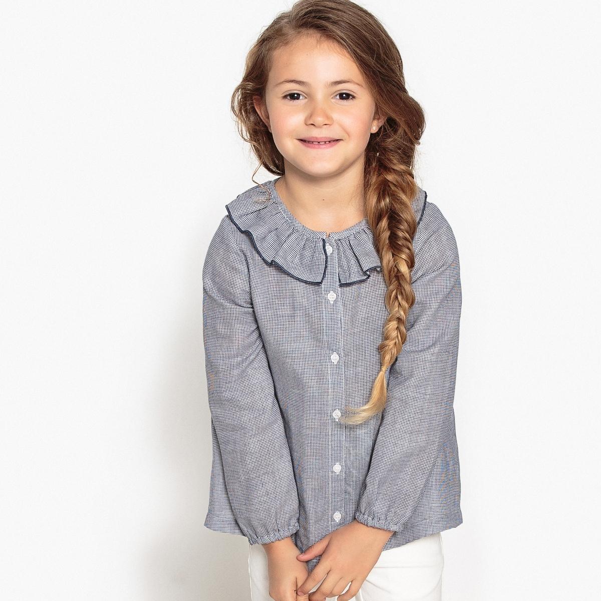 Рубашка с круглым вырезом, рисунком и длинными рукавами