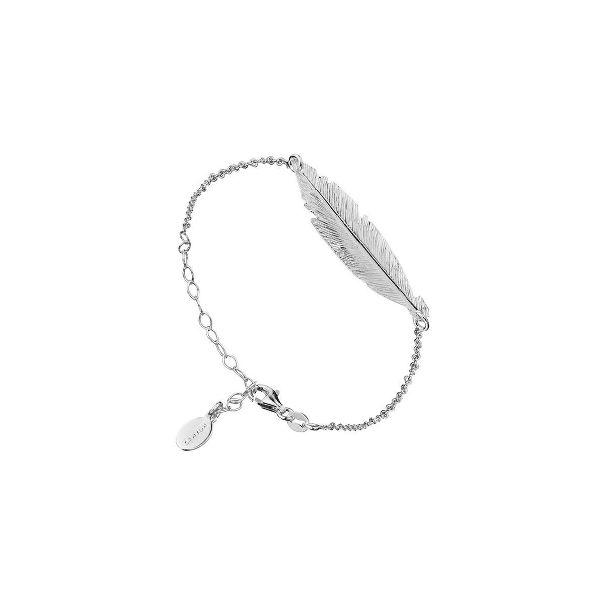 Bracelet chaîne plume en argent 925 passivé, 2.3g