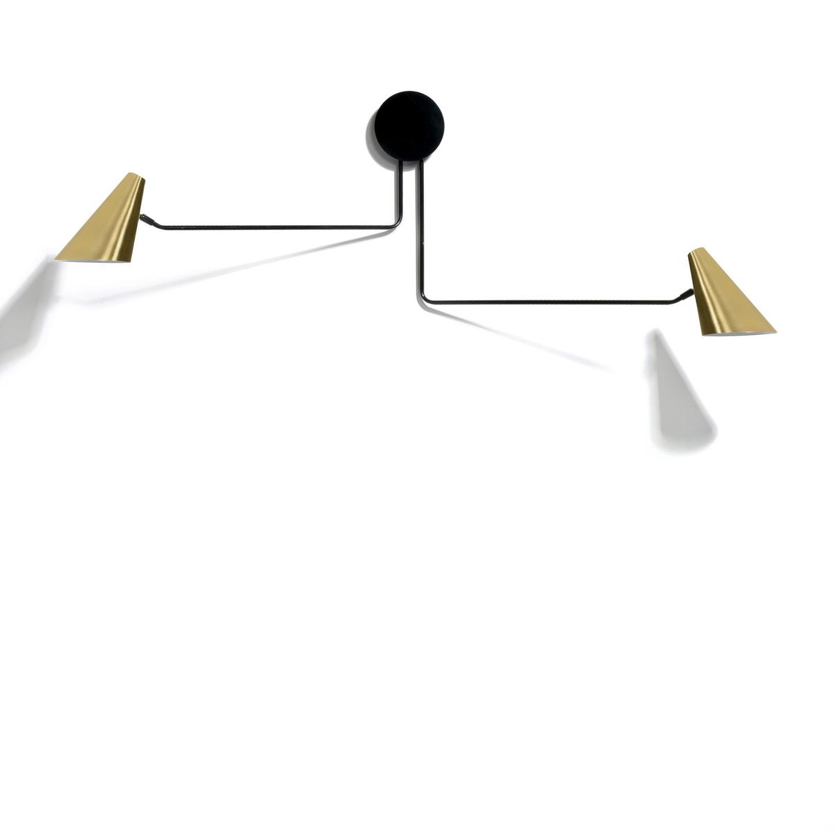 Светильник двойной, Bar?aСветильник двойной с регулируемой лапкой .Характеристики :- Каркас из сали.- Абажур из латуни.- Патрон E27.-  Лампочка макс 40 Вт, не входит в комплект . - Этот светильник совместим с лампочками    энергетического класса   ABCDE .Размеры :- Дл.152,5 x Выс.39,7 x Гл.14,1 см .<br><br>Цвет: латунь