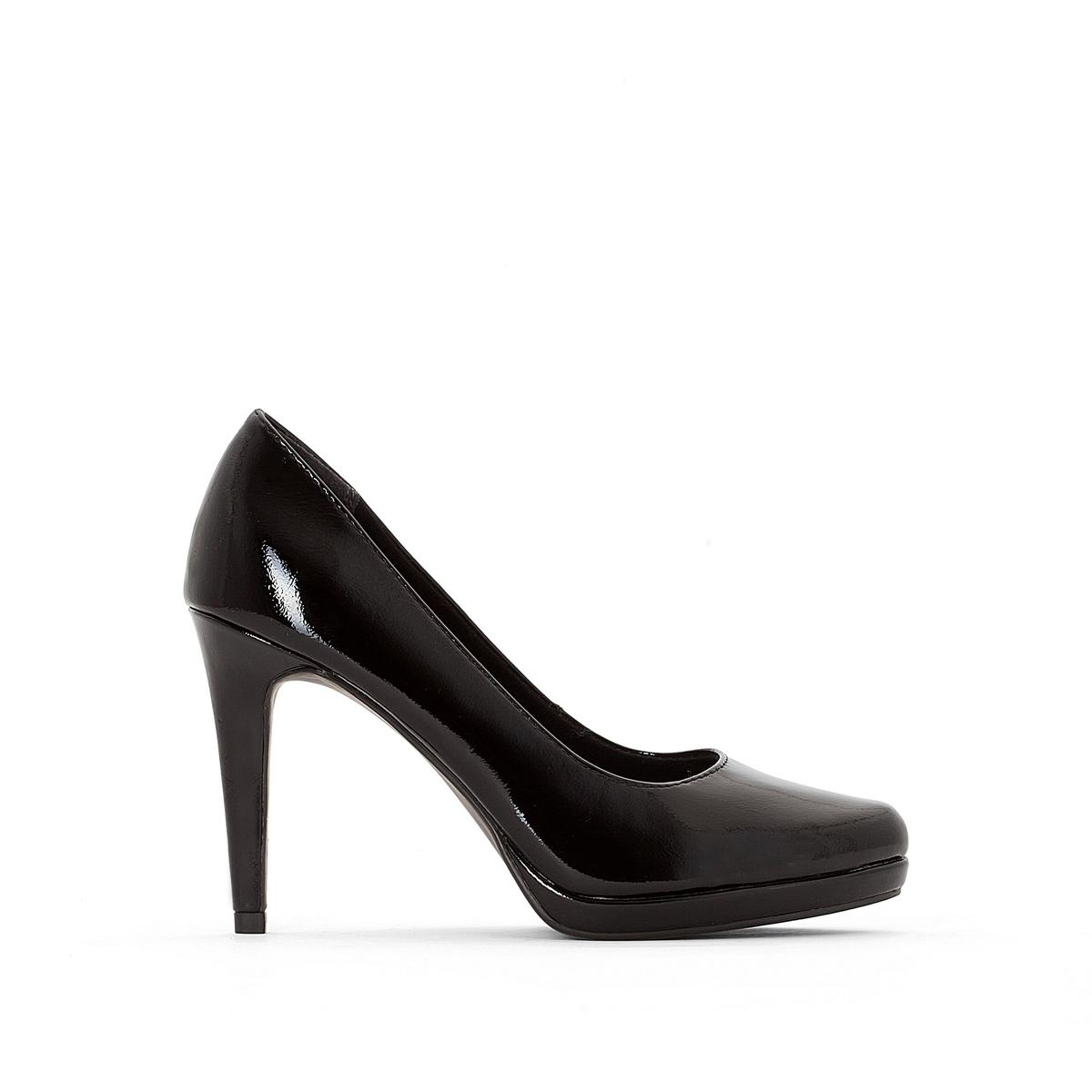 Туфли лакированные 22448-27Подкладка : текстиль   Стелька : синтетика   Подошва : синтетика   Высота каблука : 9,5 см   Форма каблука : шпилька   Мысок : закругленный   Застежка : без застежки<br><br>Цвет: Черный лак