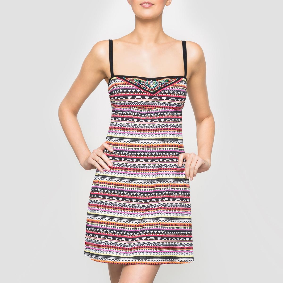 Платье пляжное с принтомСостав и описание :Материал :             80% полиамида, 20% эластана Марка : BANANA MOON<br><br>Цвет: рисунок разноцветный<br>Размер: 36 (FR) - 42 (RUS)