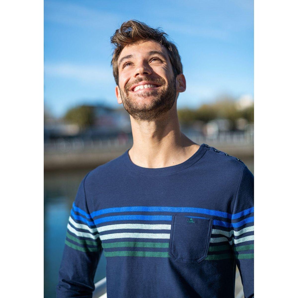 T-shirt manches longues col rond en coton PROMENADE