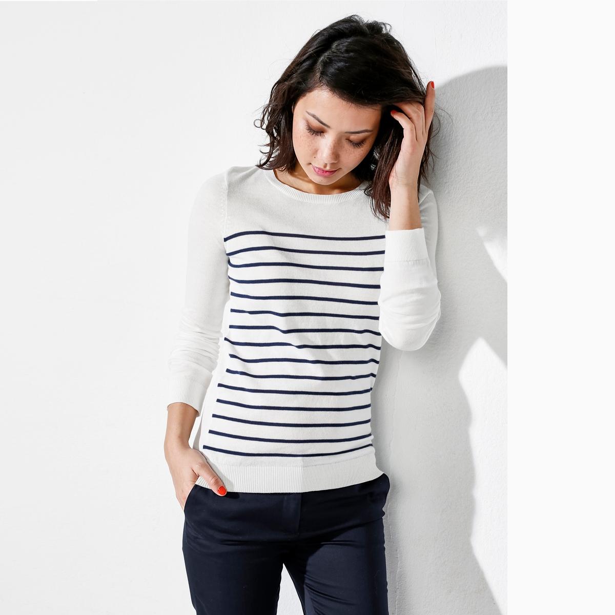 Пуловер с круглым вырезом из биохлопка
