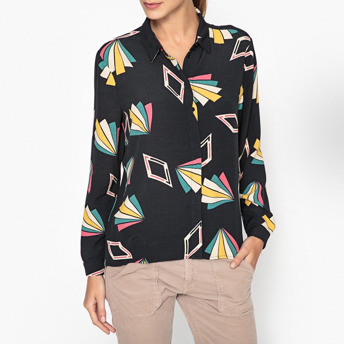 Рубашка с рисунком VOOLОписание:Рубашка с длинными рукавами BA&amp;SH - модель VOOL из вискозы с геометрическим узором и присборенными манжетами.Детали  •  Длинные рукава •  Прямой покрой •  Воротник-поло, рубашечный •  Рисунок-принтСостав и уход  •  100% вискоза •  Следуйте советам по уходу, указанным на этикетке<br><br>Цвет: черный