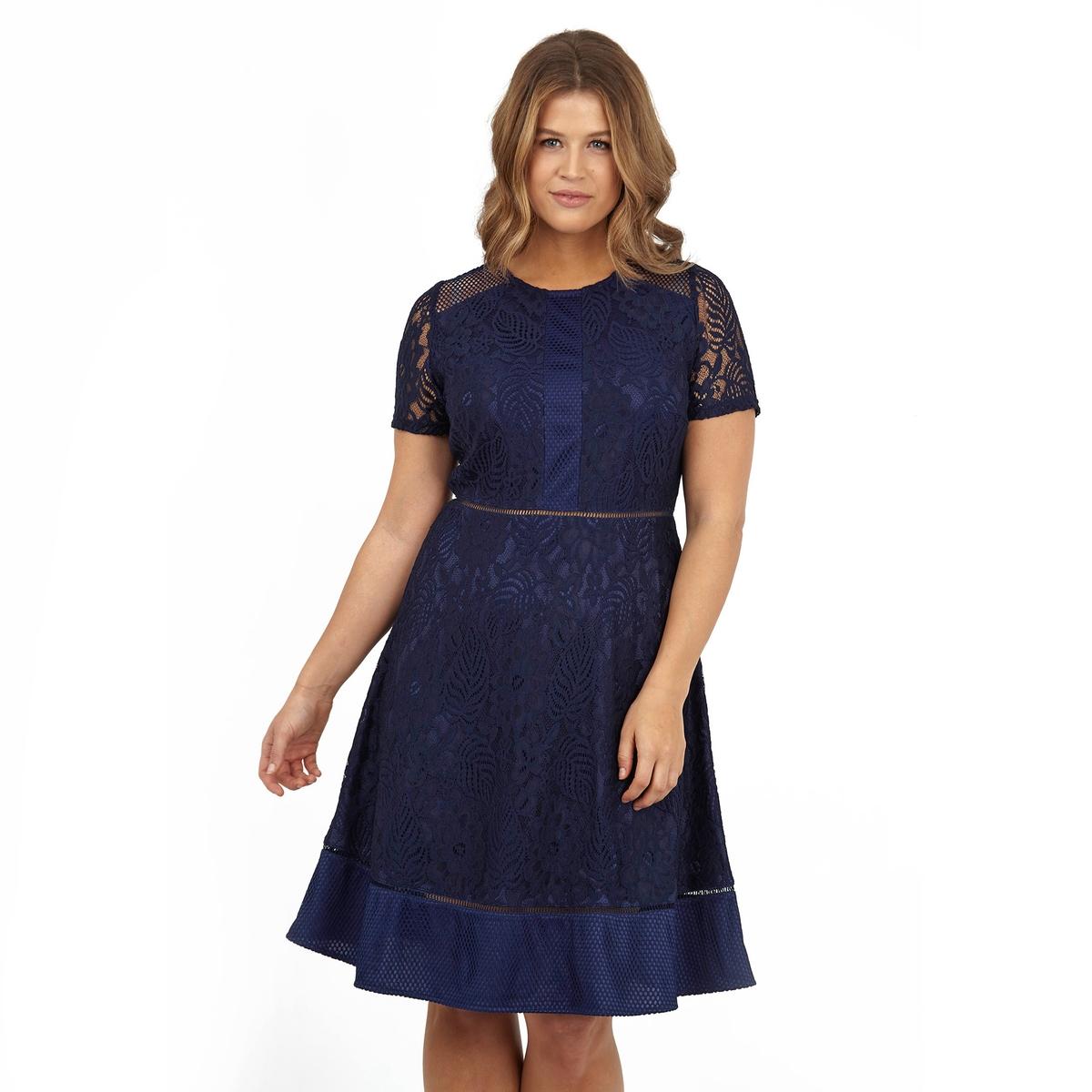 ПлатьеПлатье с короткими рукавами KOKO BY KOKO. 100% полиэстер.<br><br>Цвет: синий морской<br>Размер: 58/60 (FR) - 64/66 (RUS)