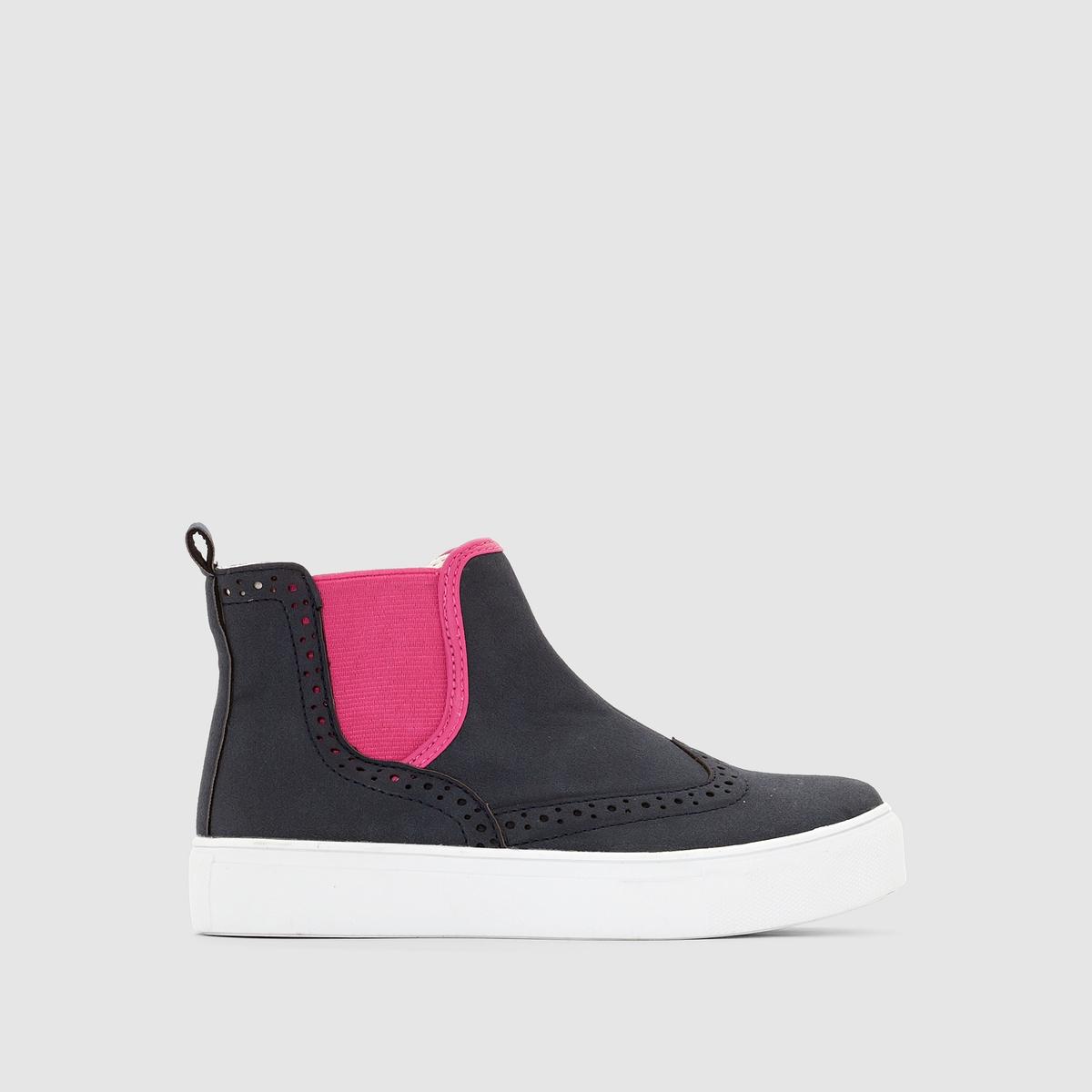 Кеды высокие в стиле челсиВеликолепное сочетание стиля сапог челси и высоких кед с эластичной контрастной вставкой и перфорацией: обувь, которая пропитана комфортом и стилем, подарит вашим детям радость !<br><br>Цвет: темно-синий  + розовый