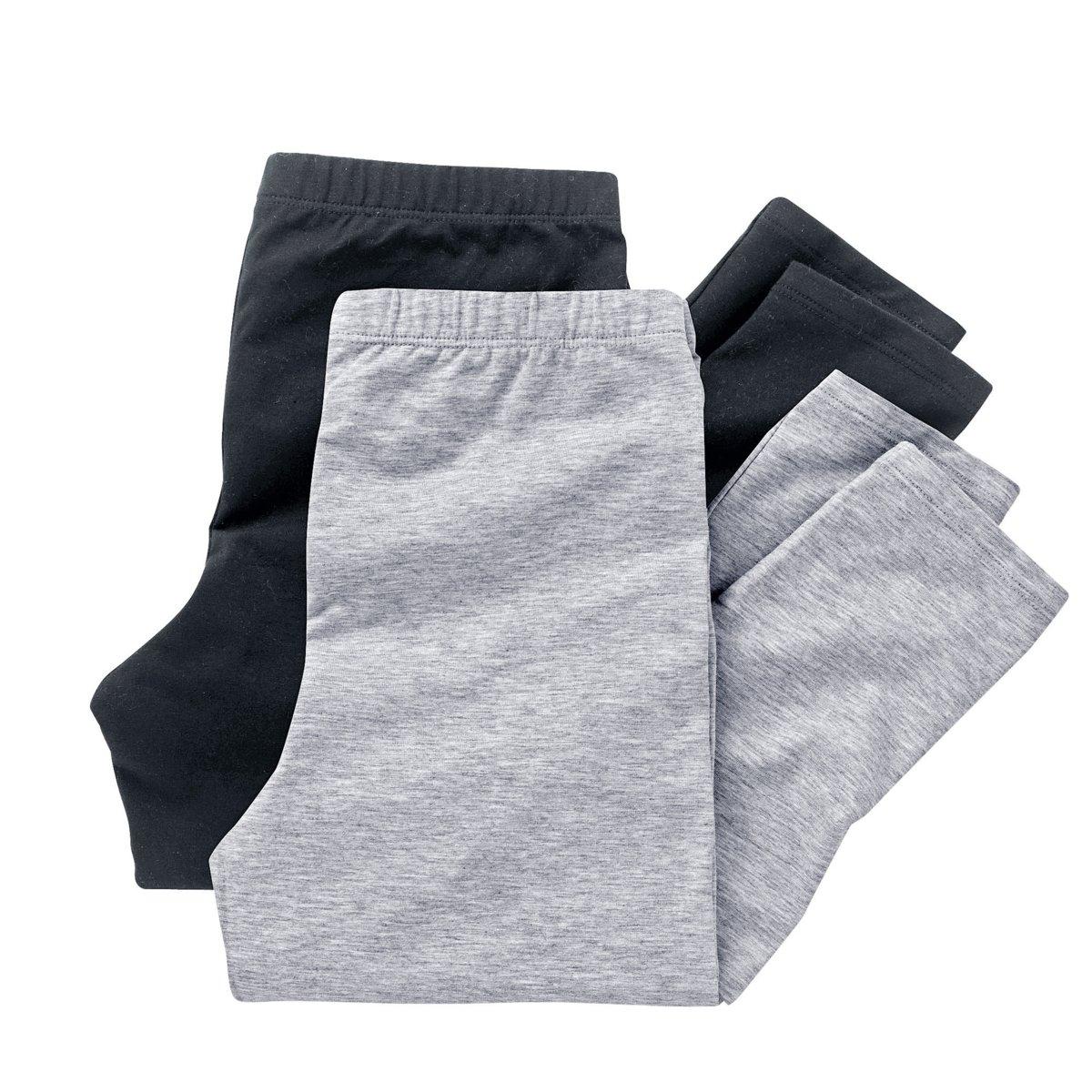 Леггинсы длинные (комплект из 2) 10-16 летДлинные леггинсы, 95% хлопка, 5% эластана. Комплект из 2 . Эластичный пояс.<br><br>Цвет: черный + серый меланж