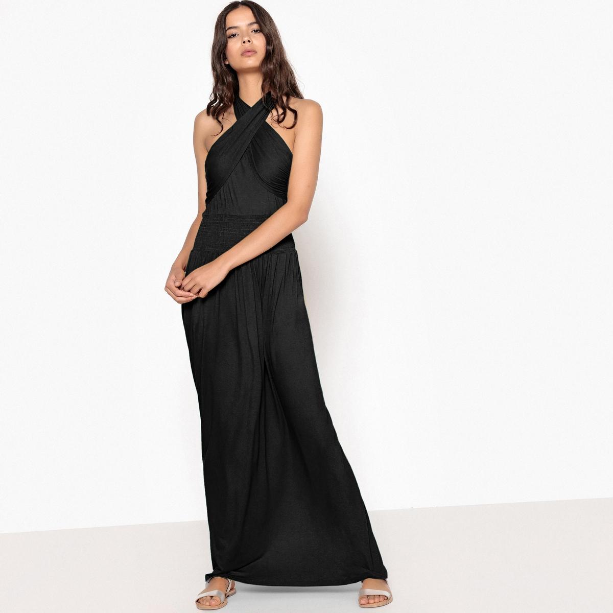 Платье длинное с открытой спиной и перекрестным расположением ткани спереди