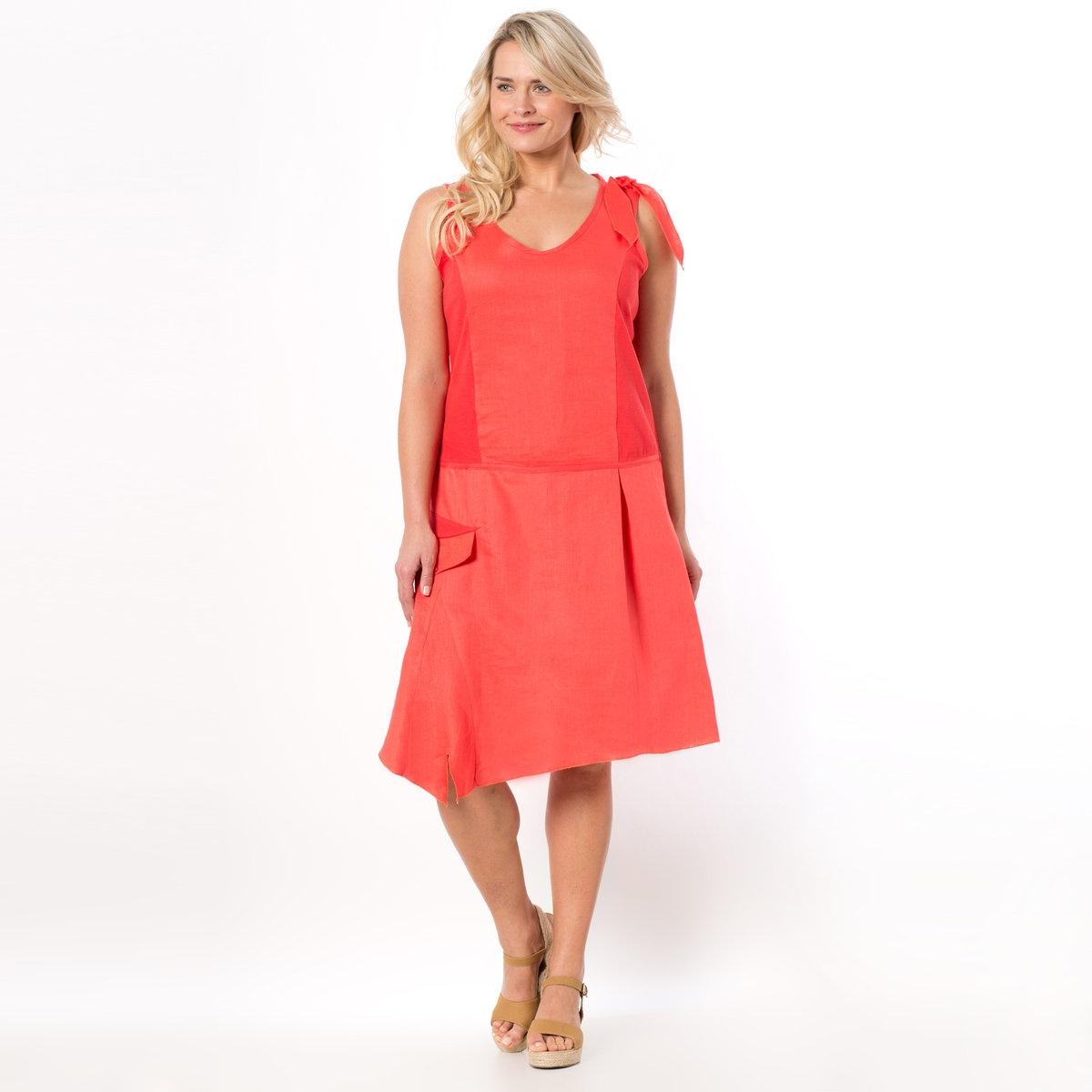 Платье без рукавовВставки из трикотажа по бокам для большего комфорта. Зигзагообразные видимые строчки. Круглый вырез.<br><br>Цвет: коралловый<br>Размер: 52 (FR) - 58 (RUS)