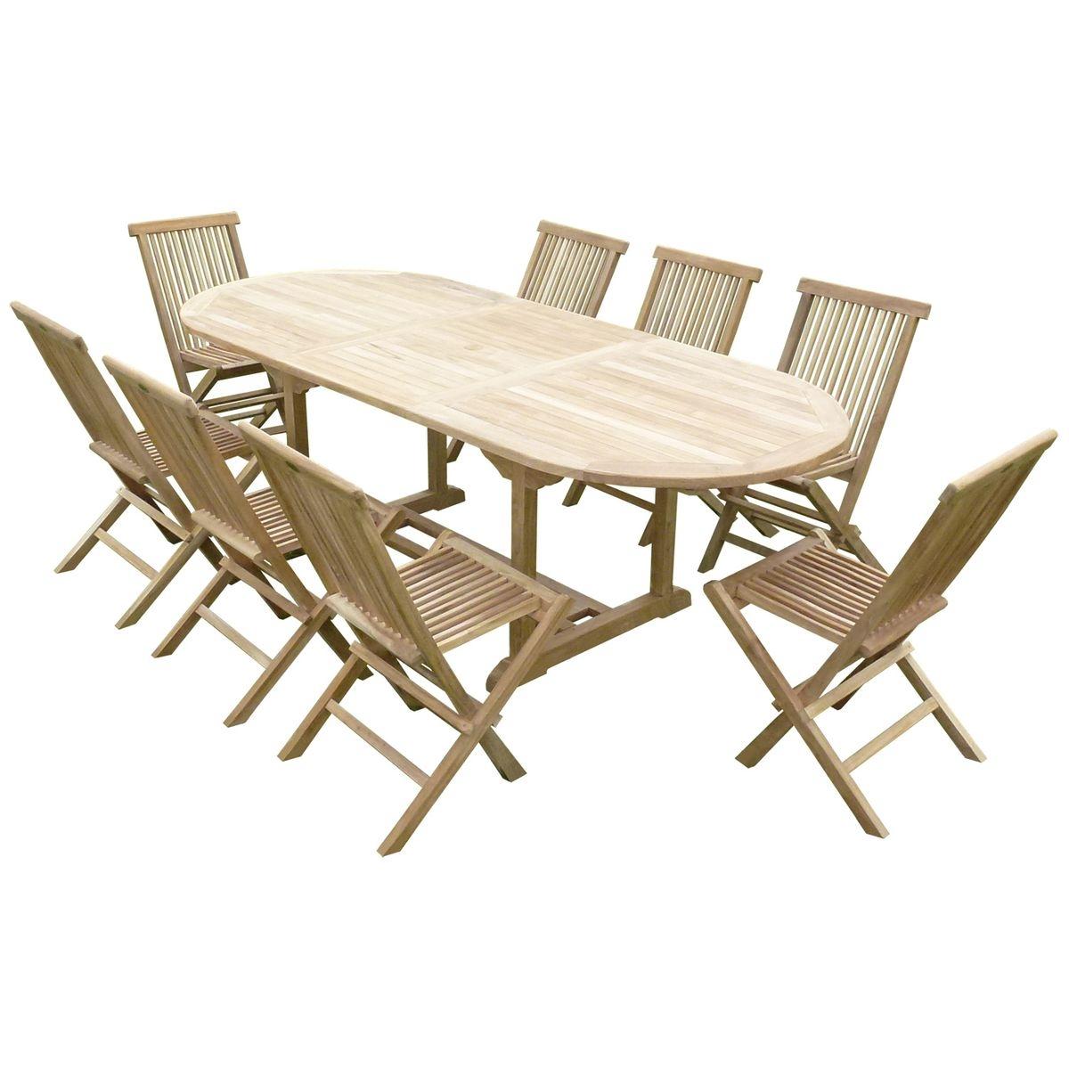 Ensemble de jardin en teck premium MILANA 8 chaises JENAE