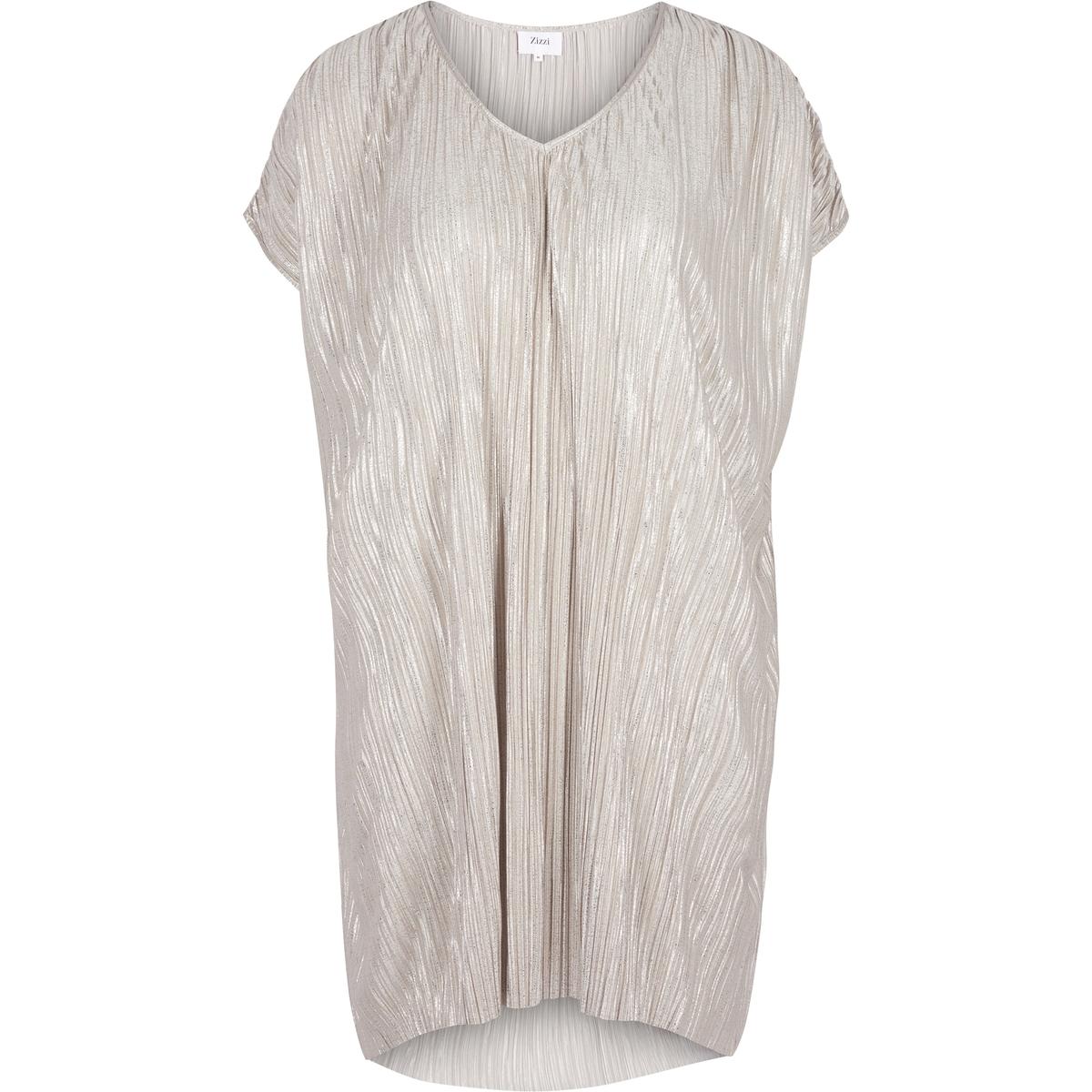 Платье прямое средней длины, однотонное, с короткими рукавамиДетали •  Форма : прямая •  Длина до колен •  Короткие рукава    •   V-образный вырезСостав и уход •  3% эластана, 97% полиэстера •  Следуйте советам по уходу, указанным на этикеткеТовар из коллекции больших размеров<br><br>Цвет: золотистый<br>Размер: 46/48 (FR) - 52/54 (RUS)