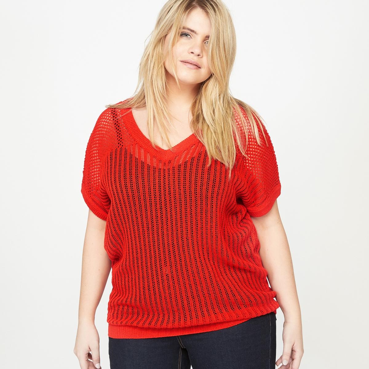 Пуловер с короткими рукавамиСостав и описание :Материал : 75 % акрила, 25 % полиамида . Длина 72 см, для размера 48.Марка : CASTALUNA..Уход : Машинная стирка при 30 °С в деликатном режиме.<br><br>Цвет: красный