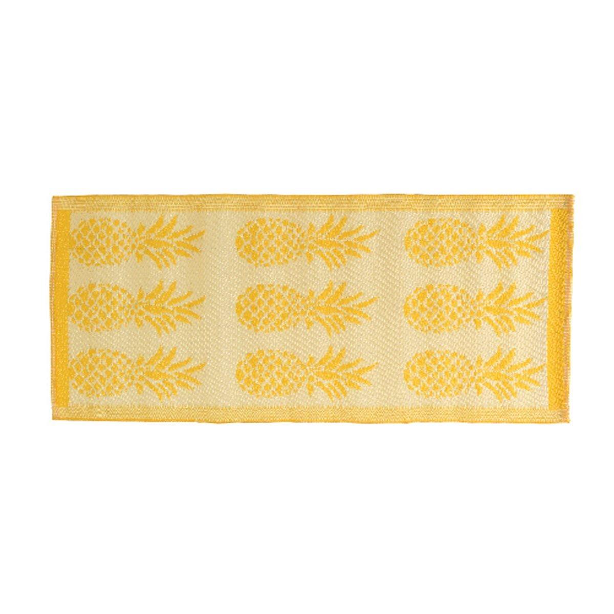 Tapis rectangulaire en polypropylène 140 x 70 cm motifs ananas Jaune - Jardideco