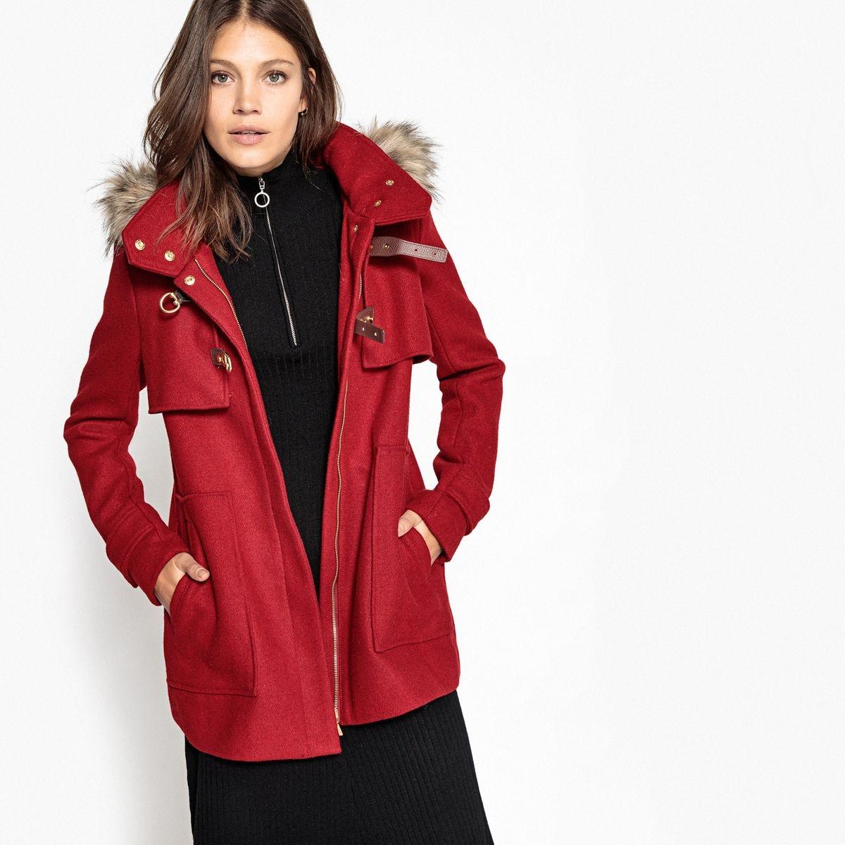 Duffle-coat à capuche et fourrure synthétique...