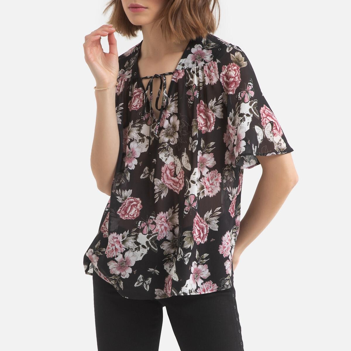 Блузка LaRedoute С V-образным вырезом цветочным рисунком и короткими рукавами 38 (FR) - 44 (RUS) розовый